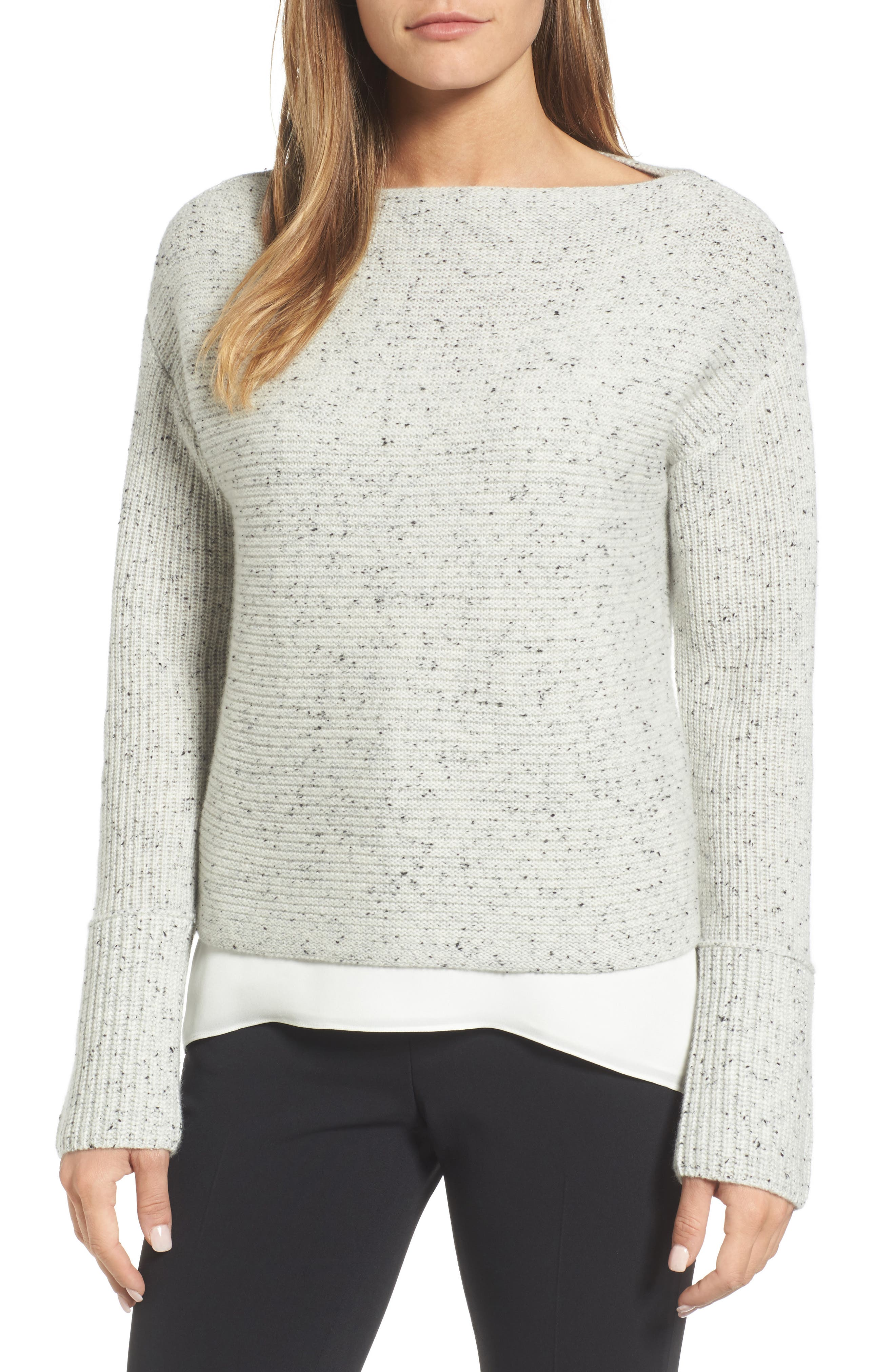 Textured Cashmere Sweater,                             Main thumbnail 1, color,                             Grey Clay Tweed