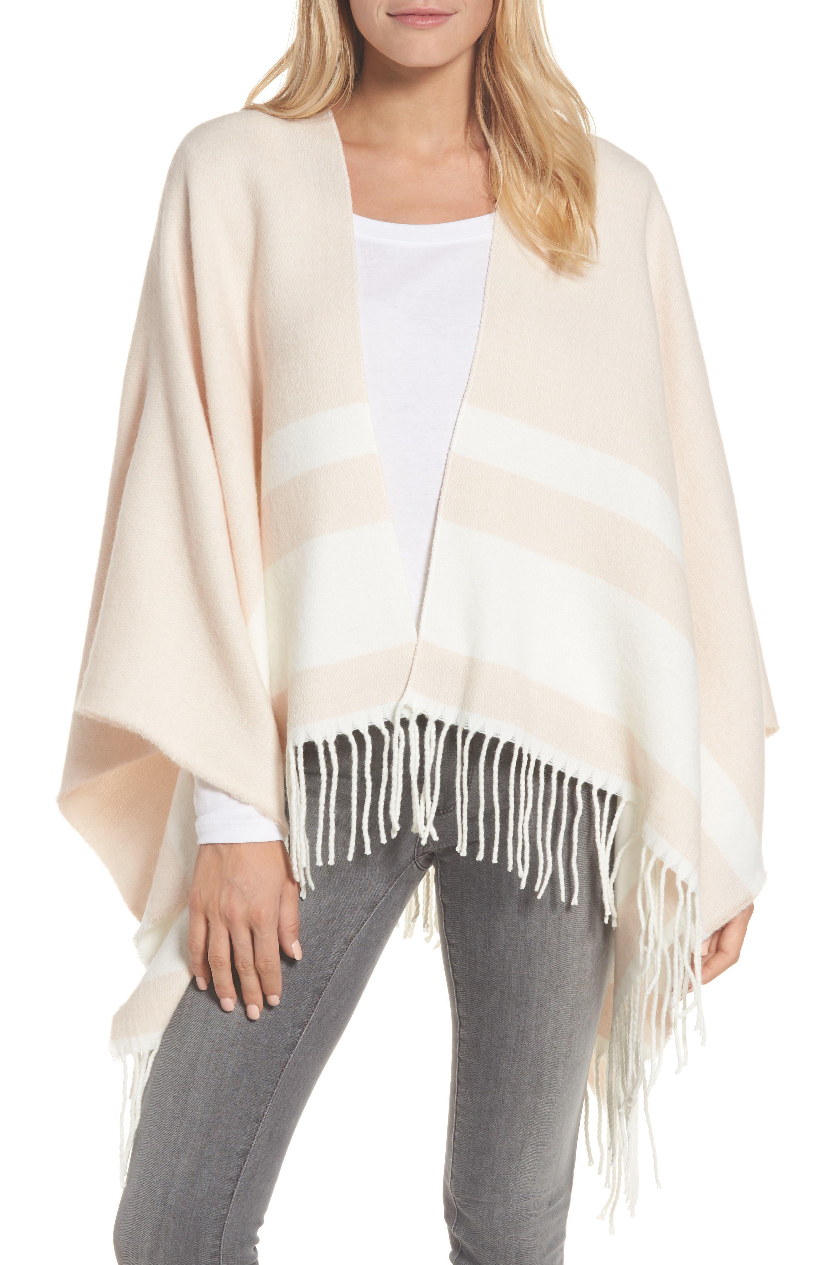 Stripe Ruana,                         Main,                         color, Blush