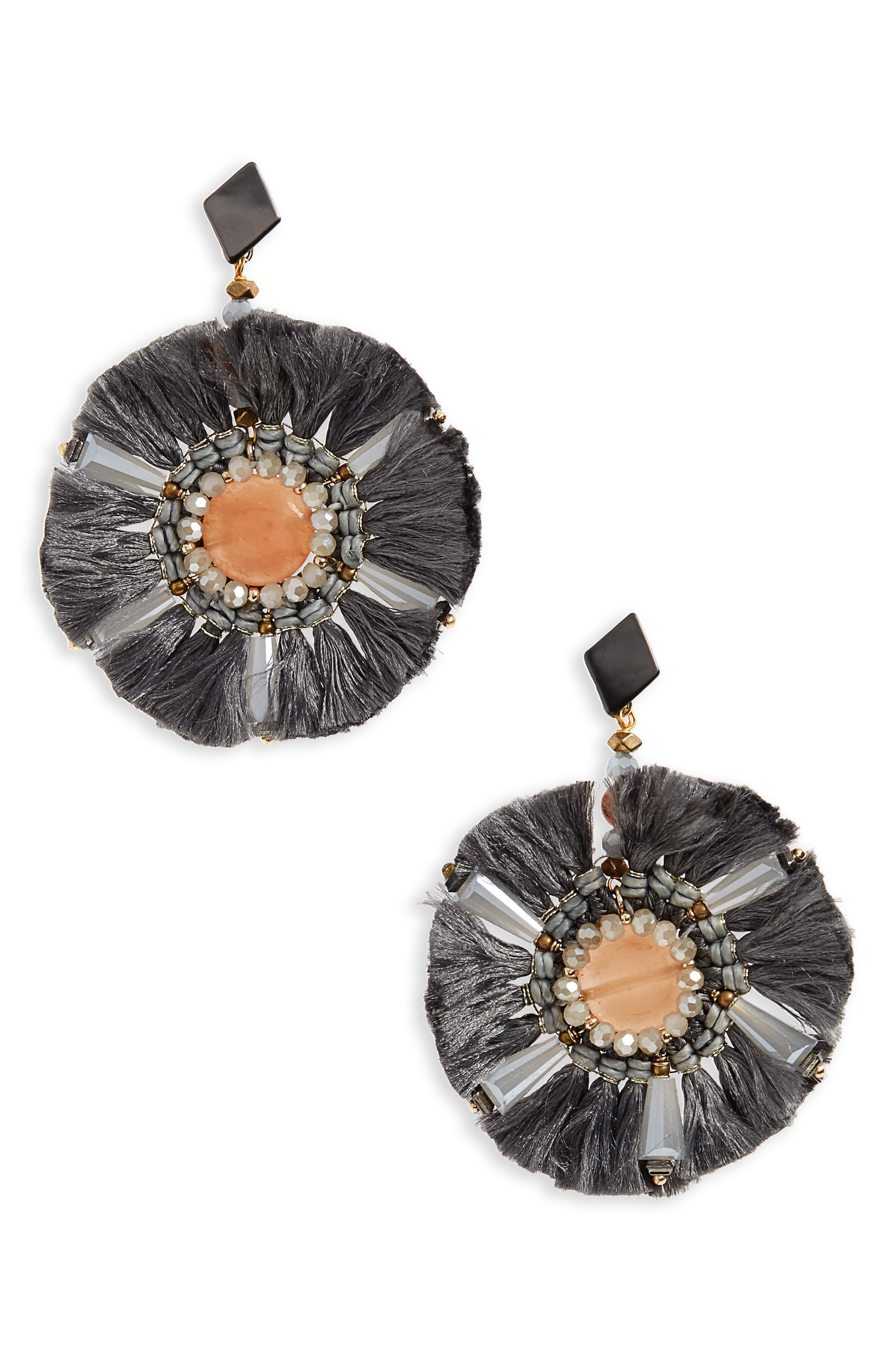 Agate & Fringe Statement Earrings,                         Main,                         color, Grey