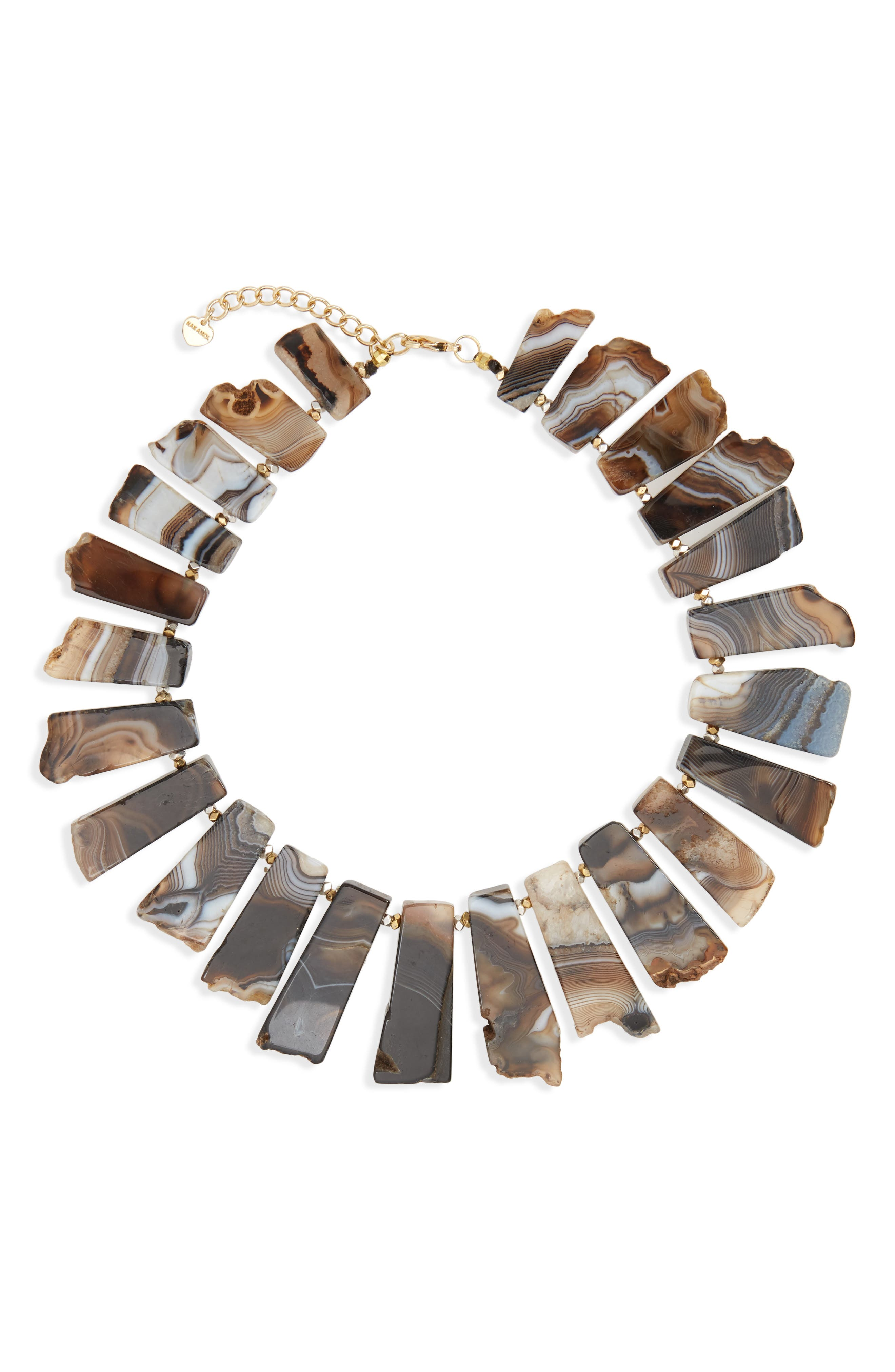 Agate Collar Necklace,                         Main,                         color, Black