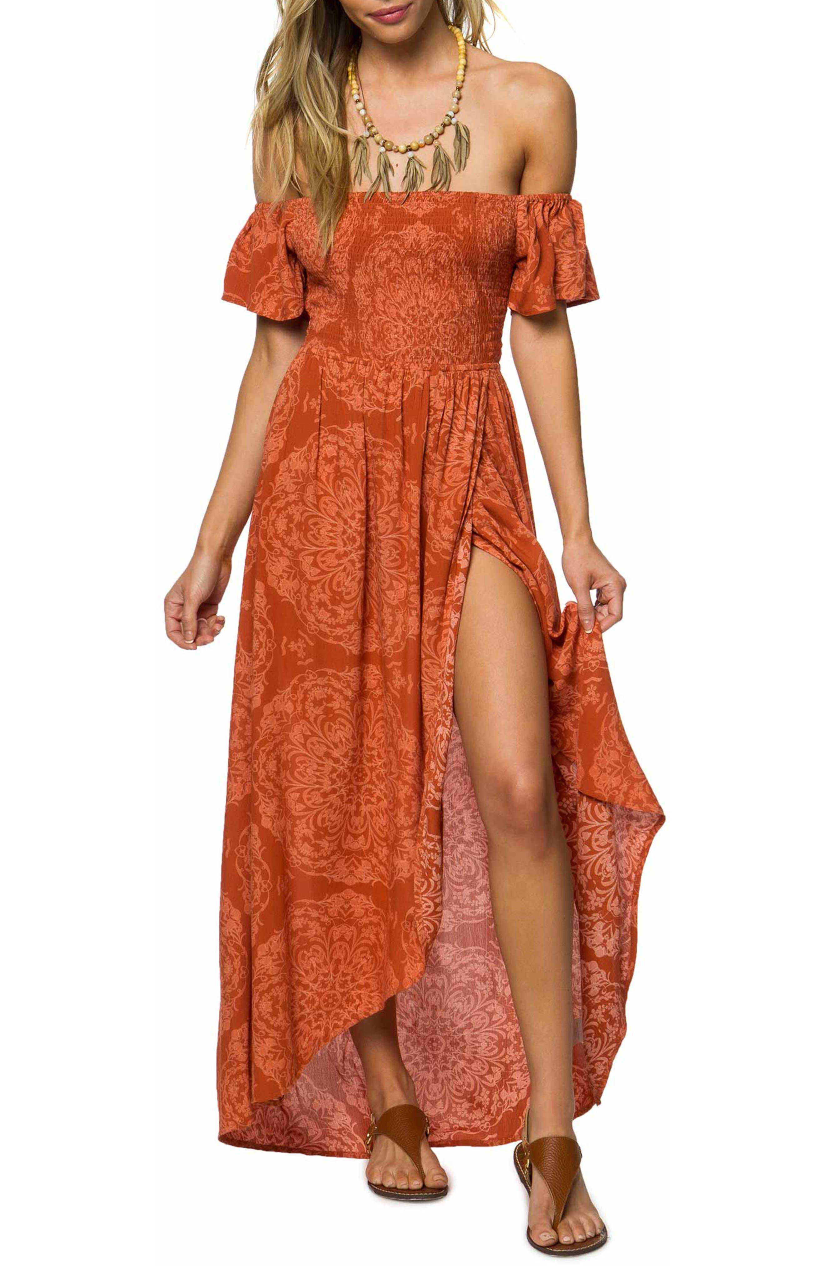 O'Neill Aviva Off the Shoulder Maxi Dress