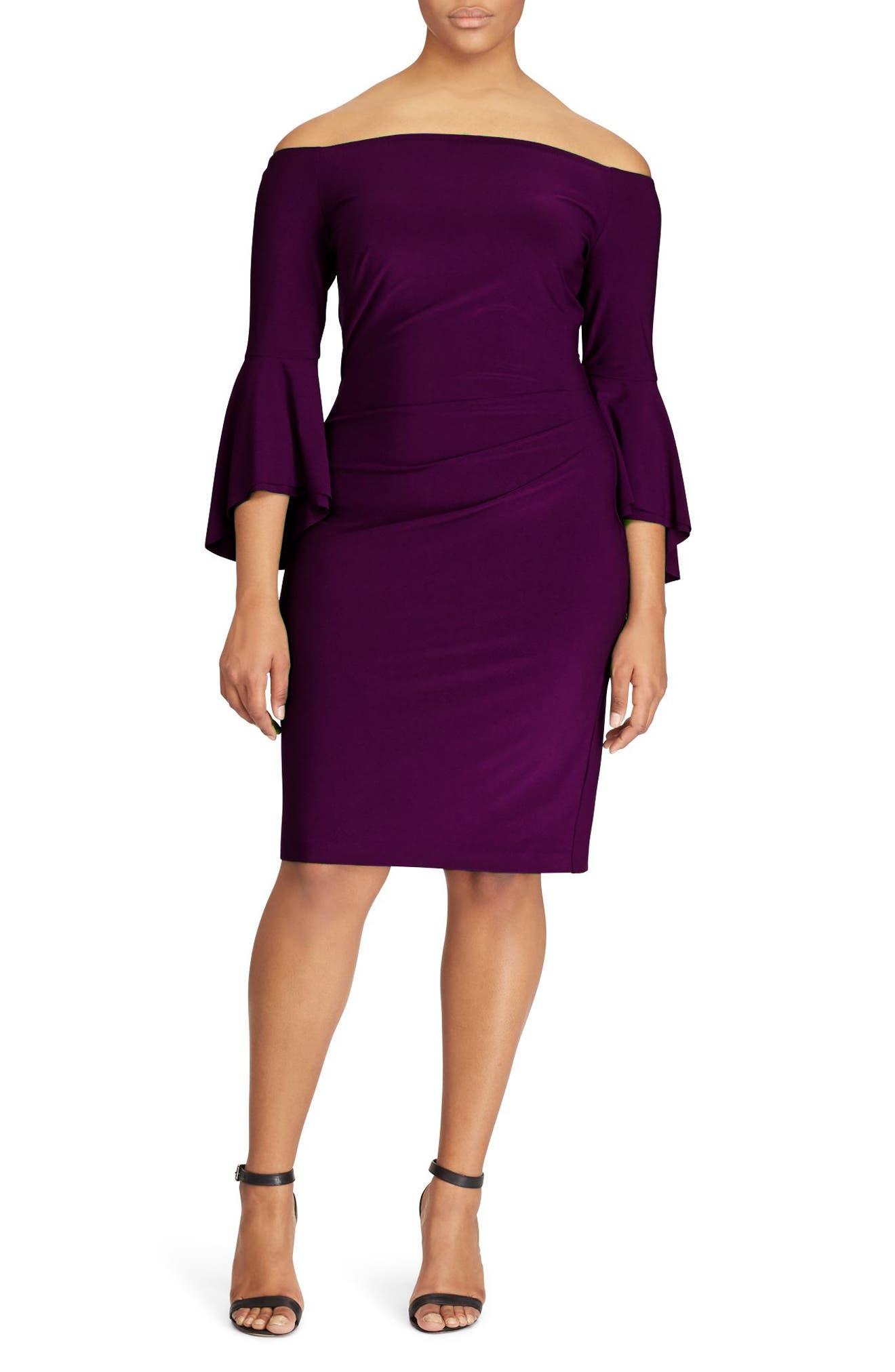 Bell Sleeve Sheath Dress,                         Main,                         color, Raisin