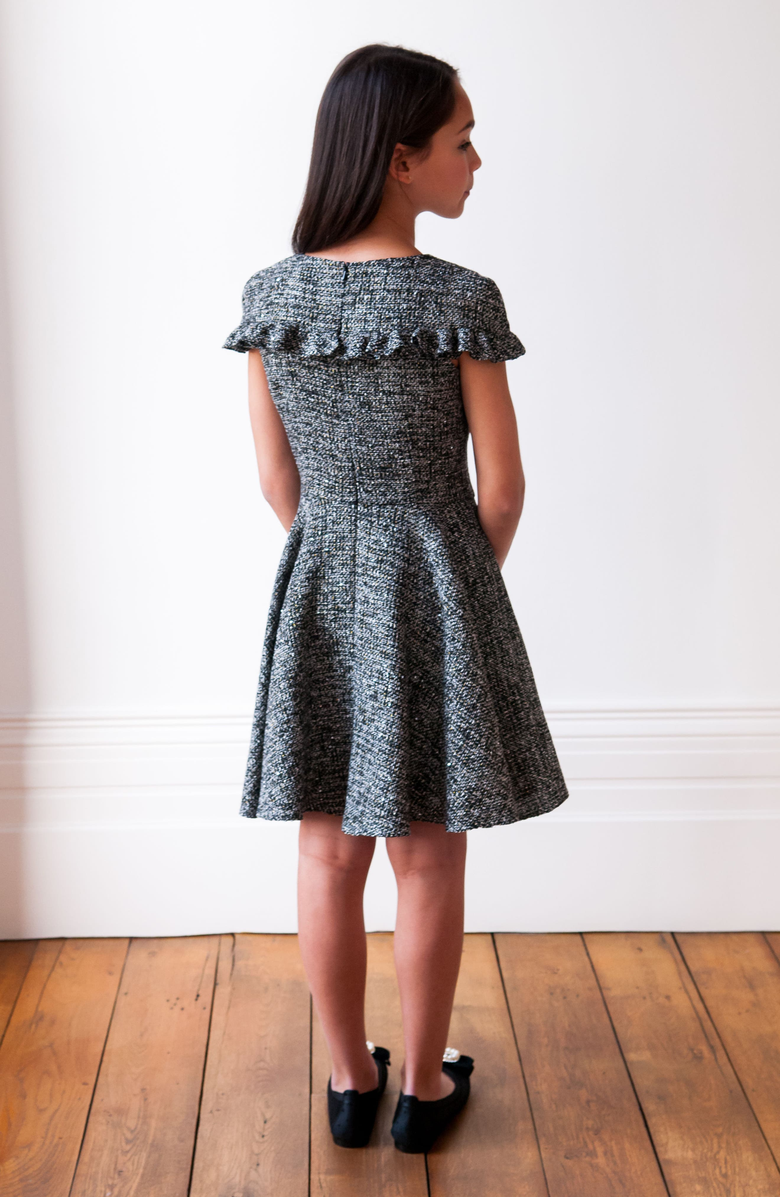 Sequin Tweed Dress,                             Alternate thumbnail 5, color,                             Black