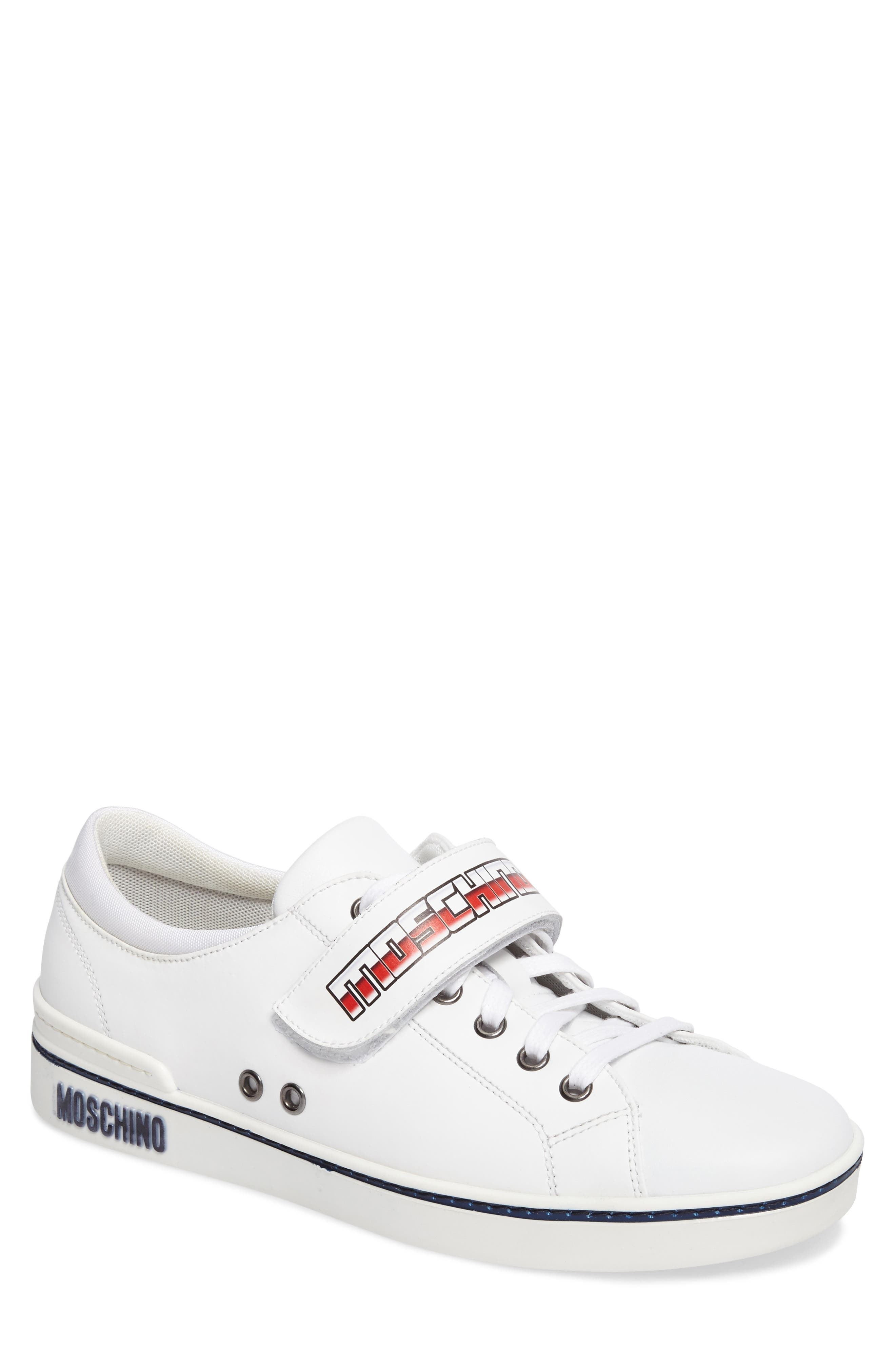 Strap Sneaker,                             Main thumbnail 1, color,                             White Leather