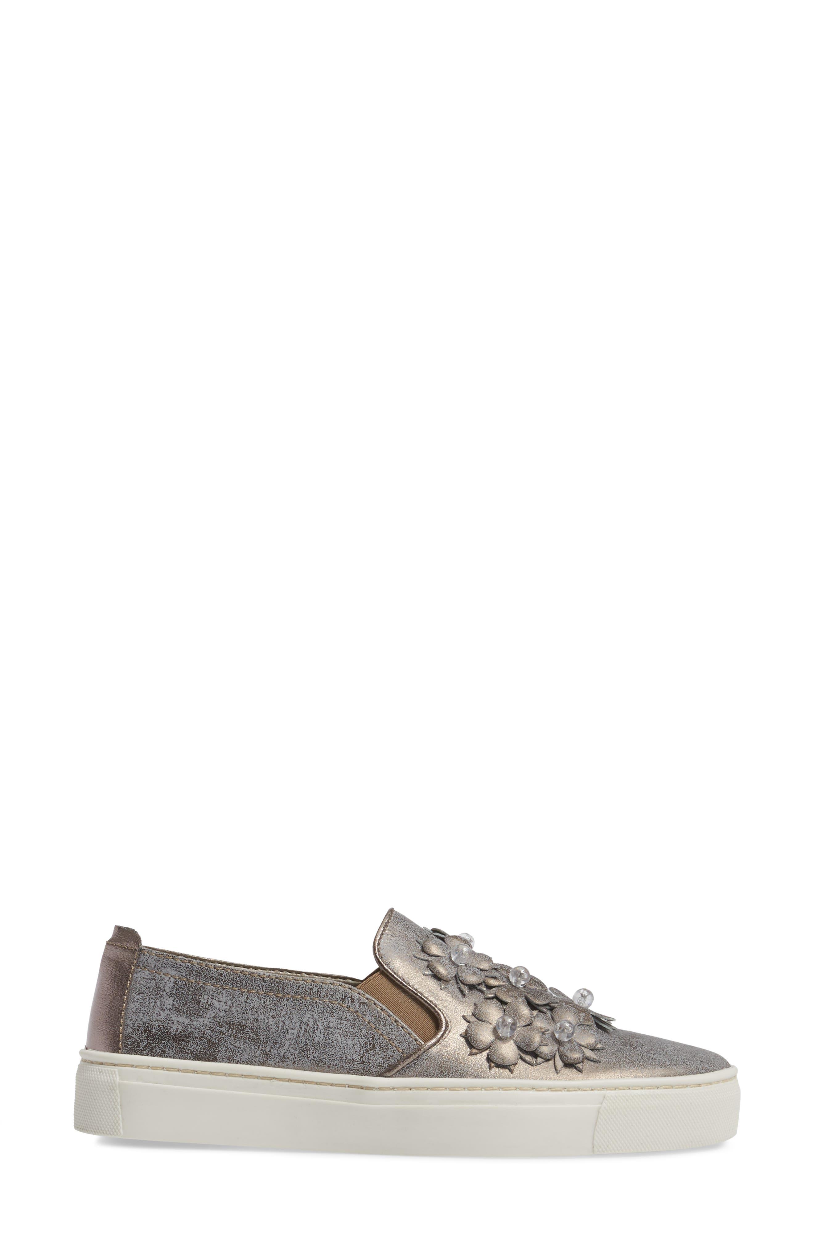 Sneak Blossom Slip-On Sneaker,                             Alternate thumbnail 3, color,                             Gunmetal