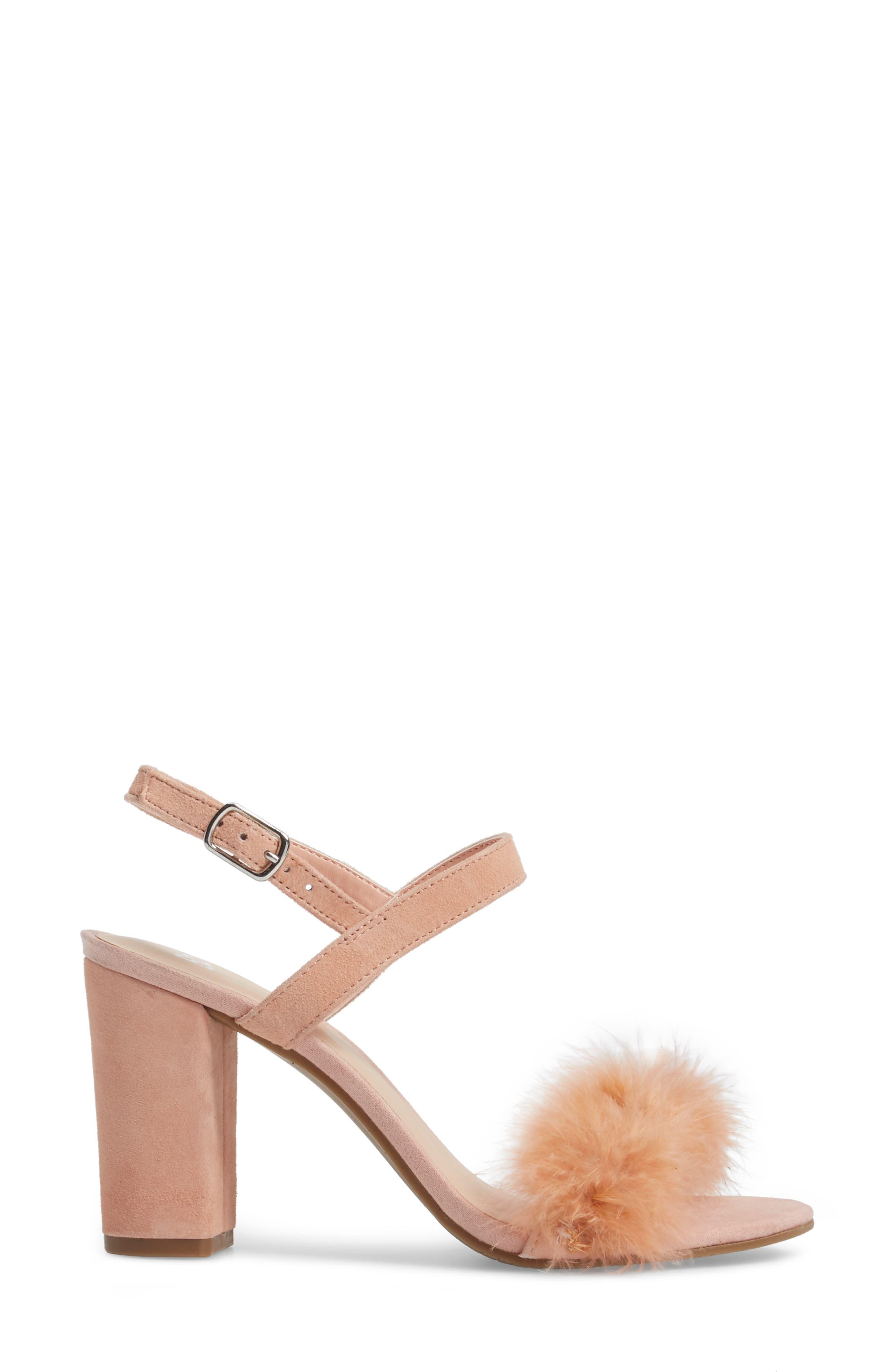 Lula Block Heel Slingback Sandal,                             Alternate thumbnail 3, color,                             Blush Feathers
