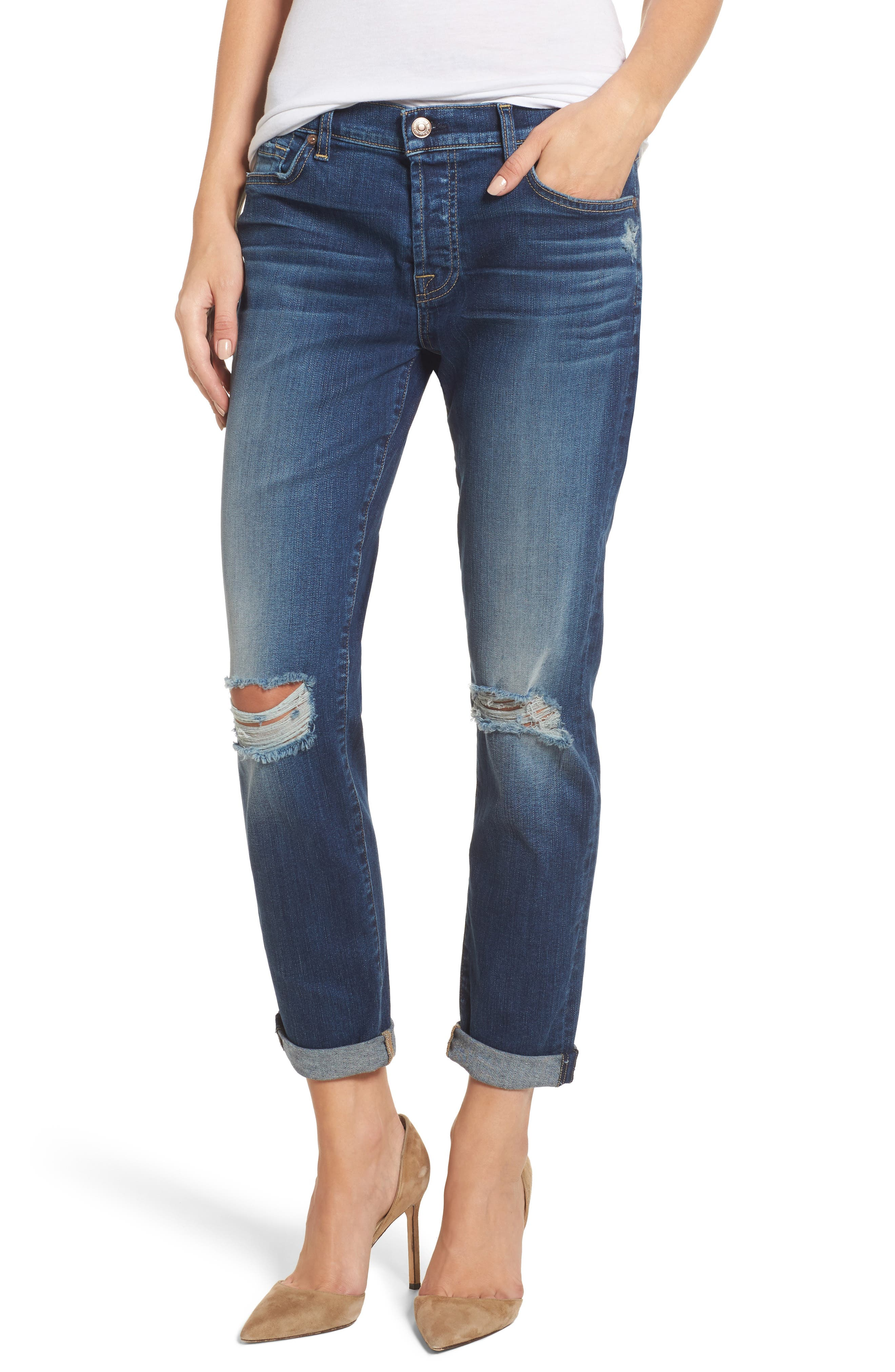 Main Image - 7 For All Mankind® Josefina Destroyed Boyfriend Jeans (Liberty)