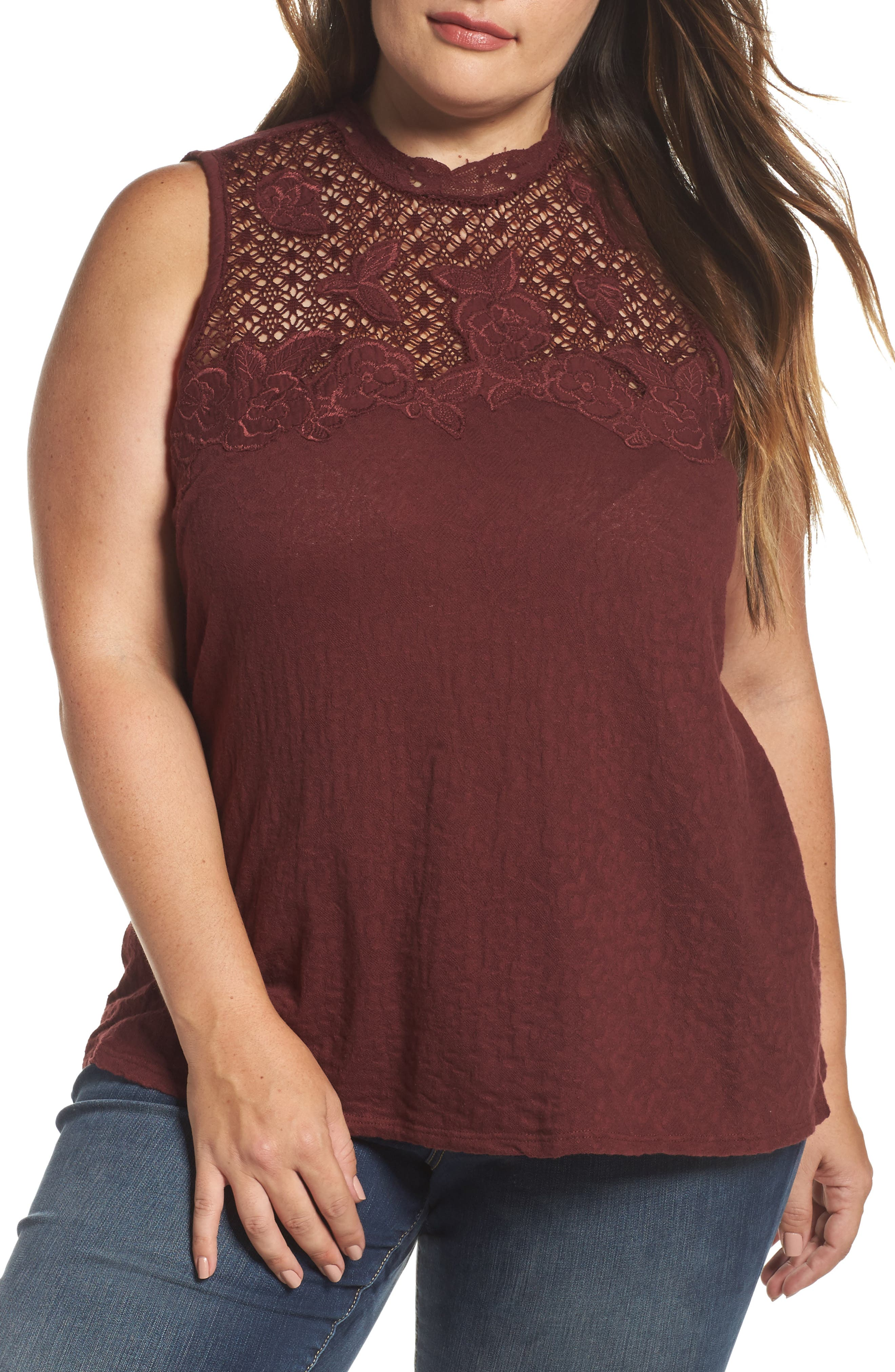 Alternate Image 1 Selected - Lucky Brand Lace Knit Top (Plus Size)