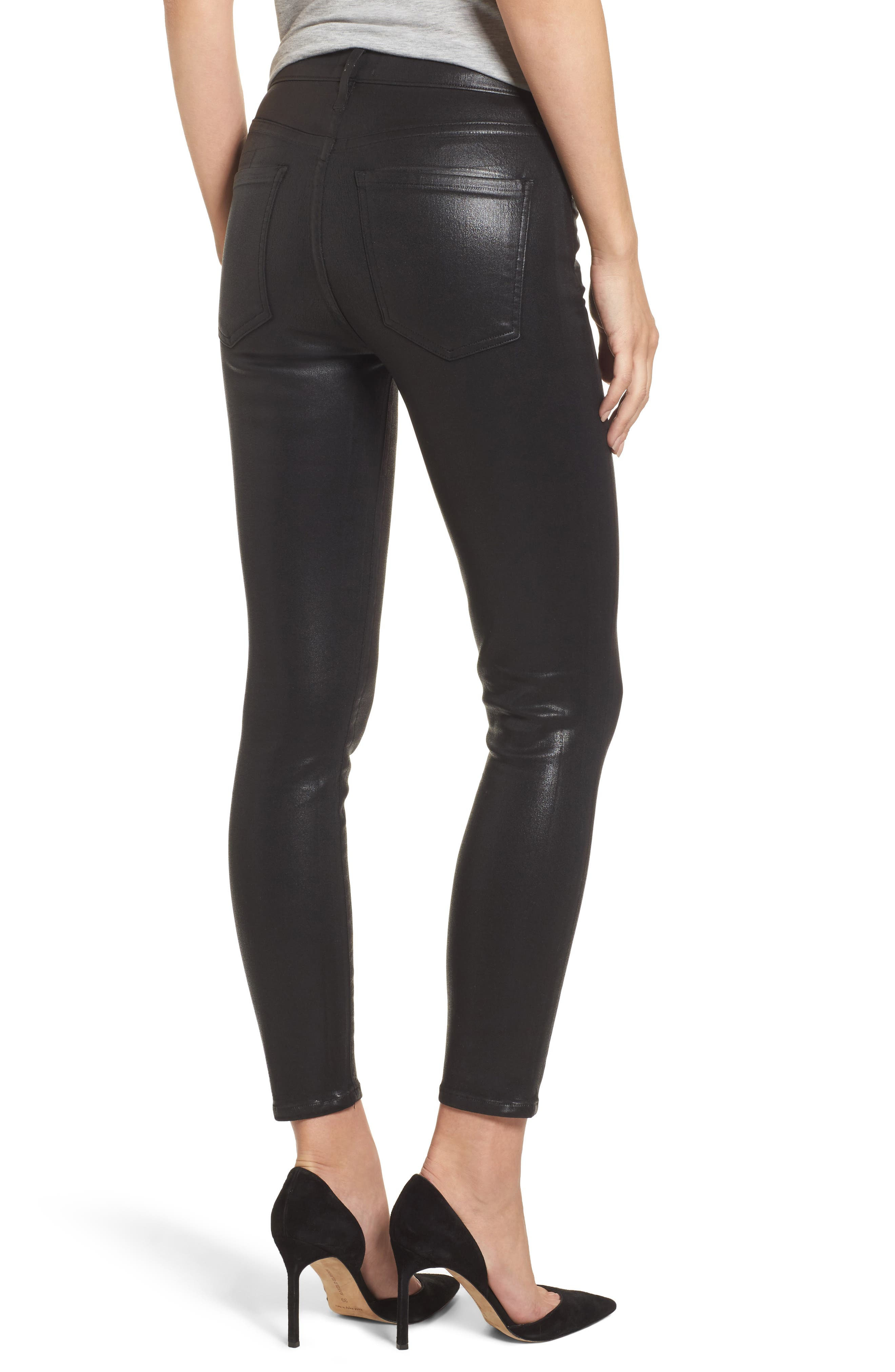 Alternate Image 2  - AGOLDE Sophie Coated High Waist Crop Skinny Jeans (Black Leatherette)