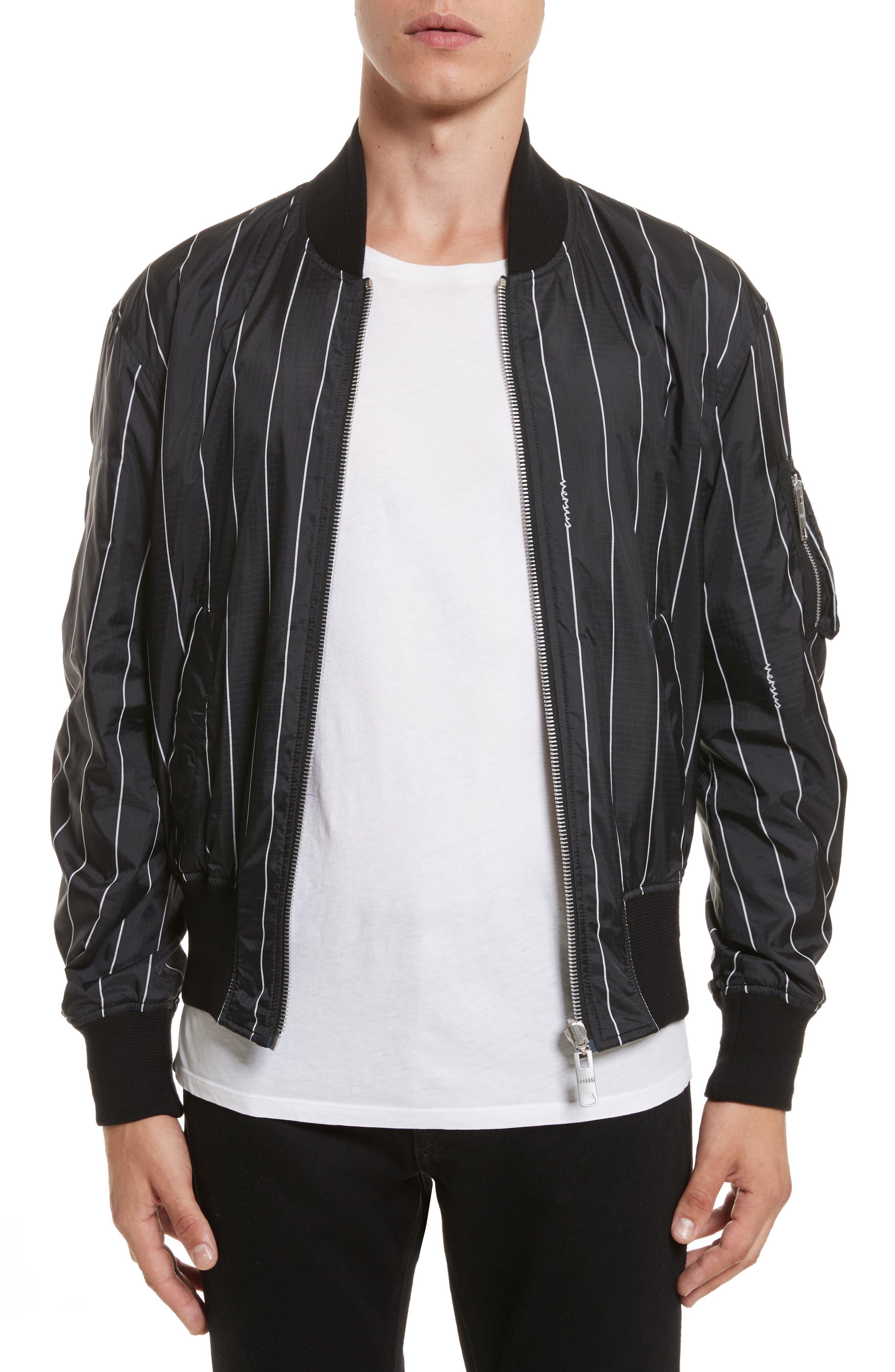 VERSUS by Versace Reversible Pinstripe Bomber Jacket,                             Main thumbnail 1, color,                             Black