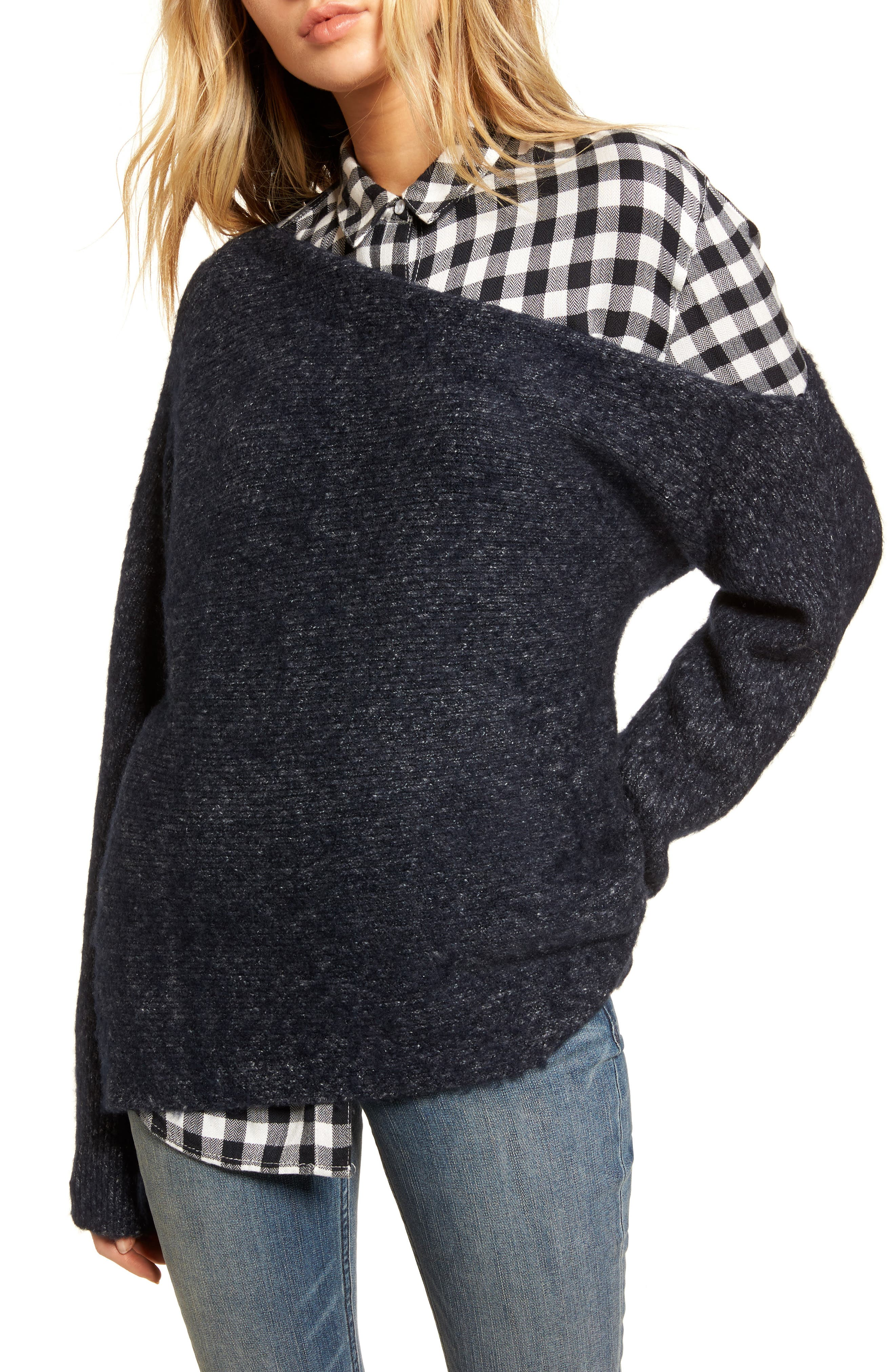 Main Image - Treasure & Bond One-Shoulder Ribbed Sweater