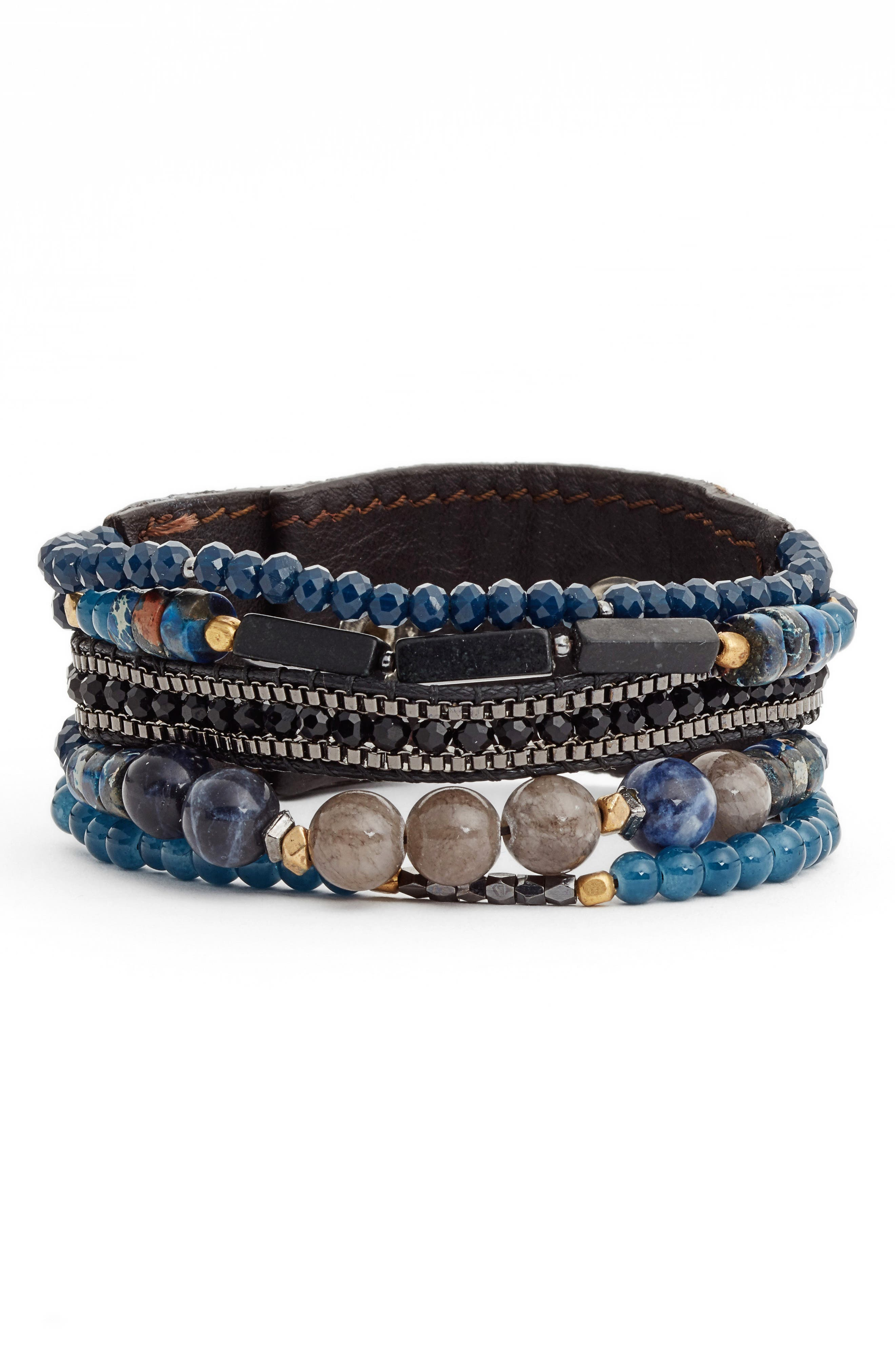 Alternate Image 1 Selected - Nakamol Design Leather, Agate & Lapis Bracelet