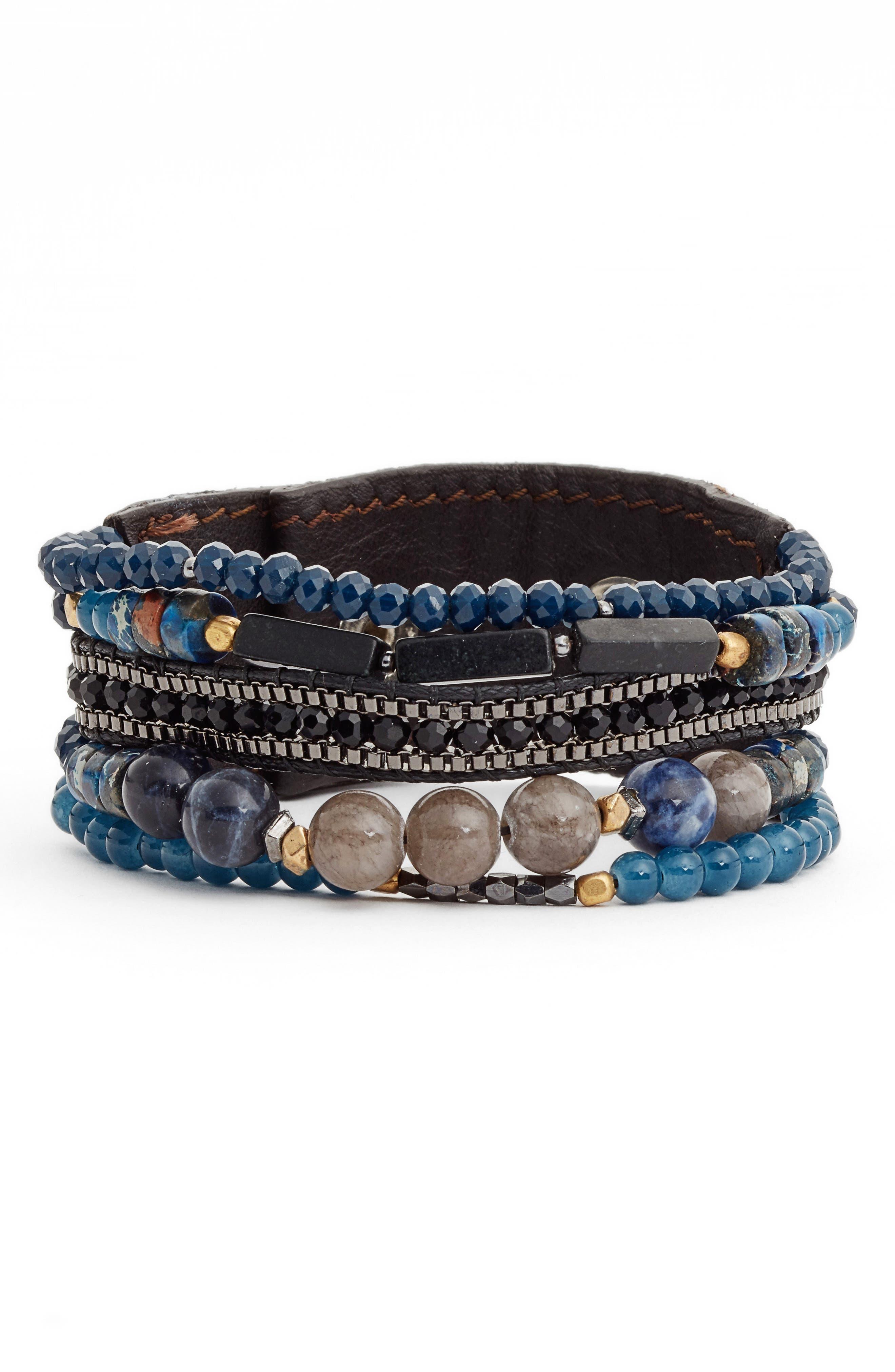 Main Image - Nakamol Design Leather, Agate & Lapis Bracelet