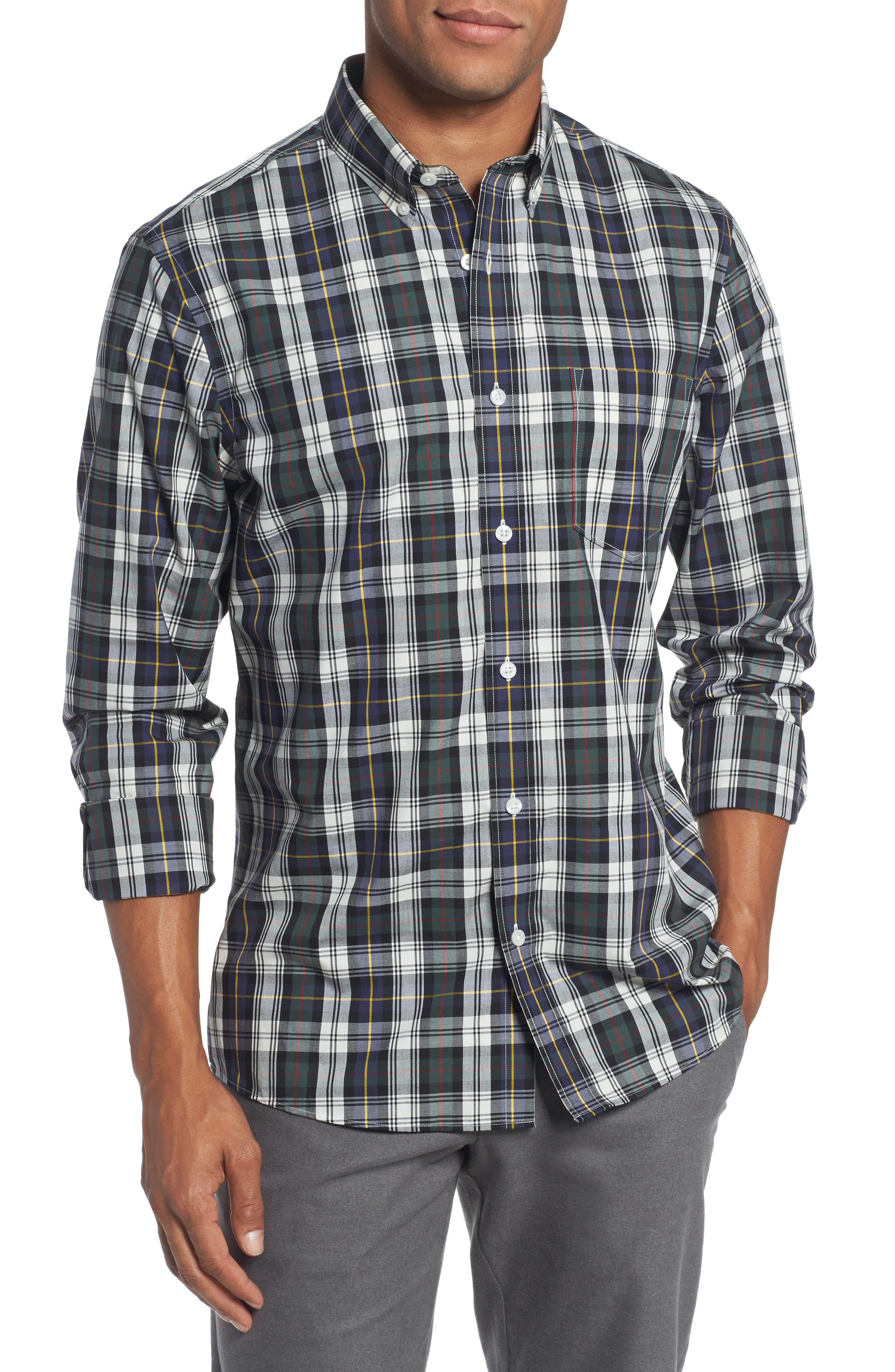 Trim Fit Non-Iron Plaid Sport Shirt,                         Main,                         color, Ivory Egret Green Tartan