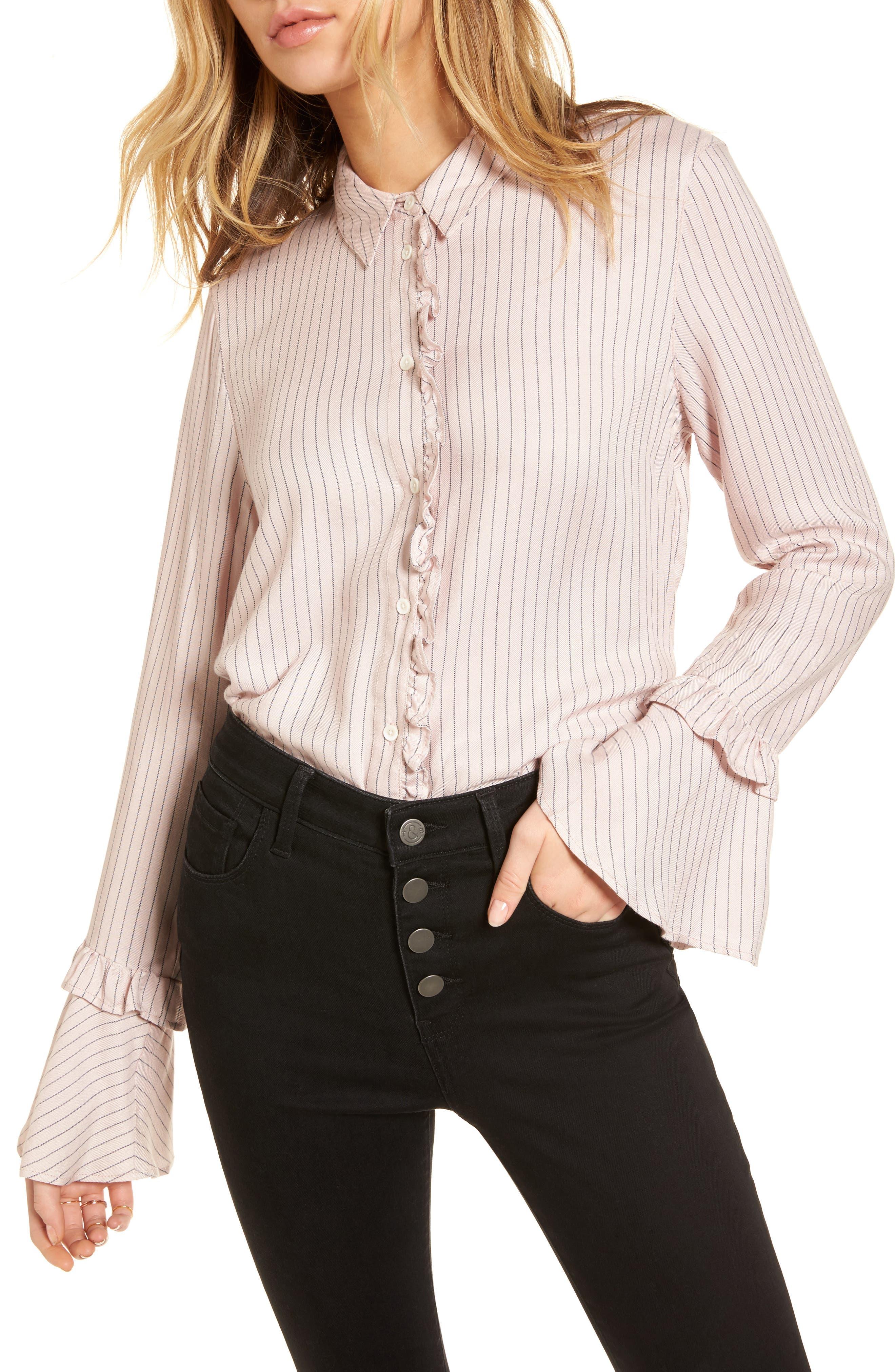 Bell Sleeve Shirt,                         Main,                         color, Pink Hush Sml Dbl Pinstripe