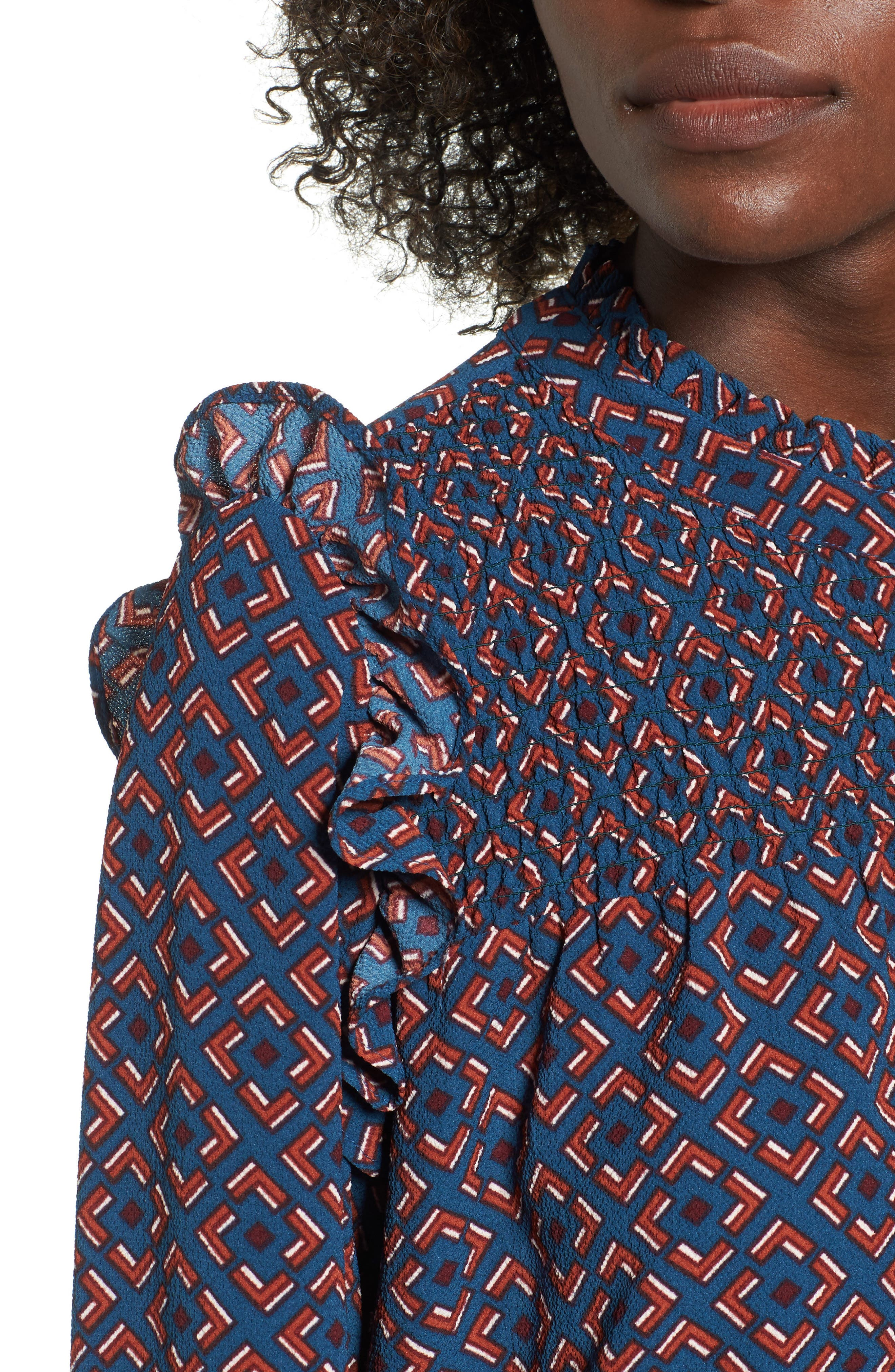 Ruffle Smocked Blouse,                             Alternate thumbnail 4, color,                             Blue Ceramic Geo