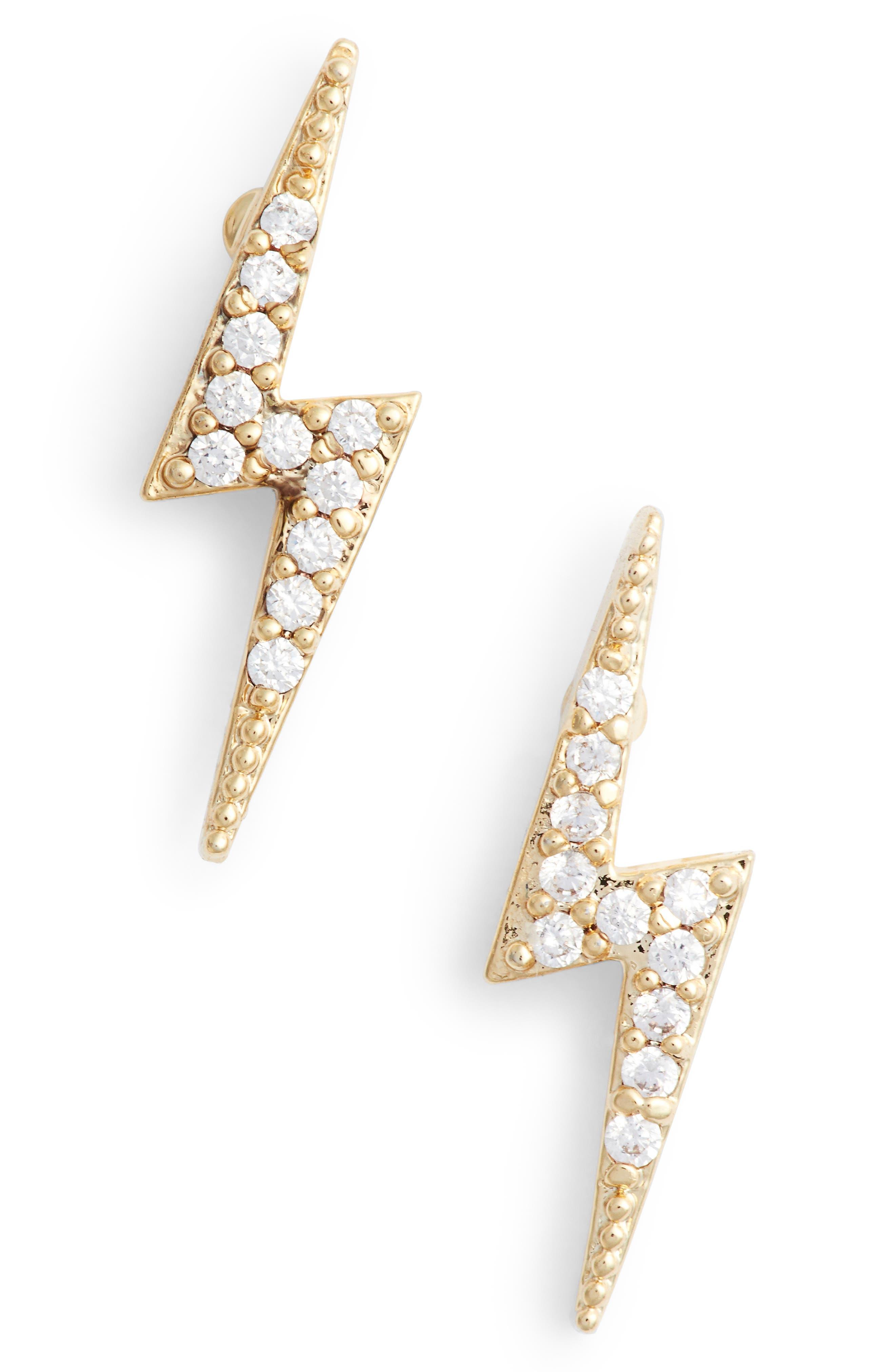 Crystal Lightning Bolt Stud Earrings,                             Alternate thumbnail 4, color,                             Gold