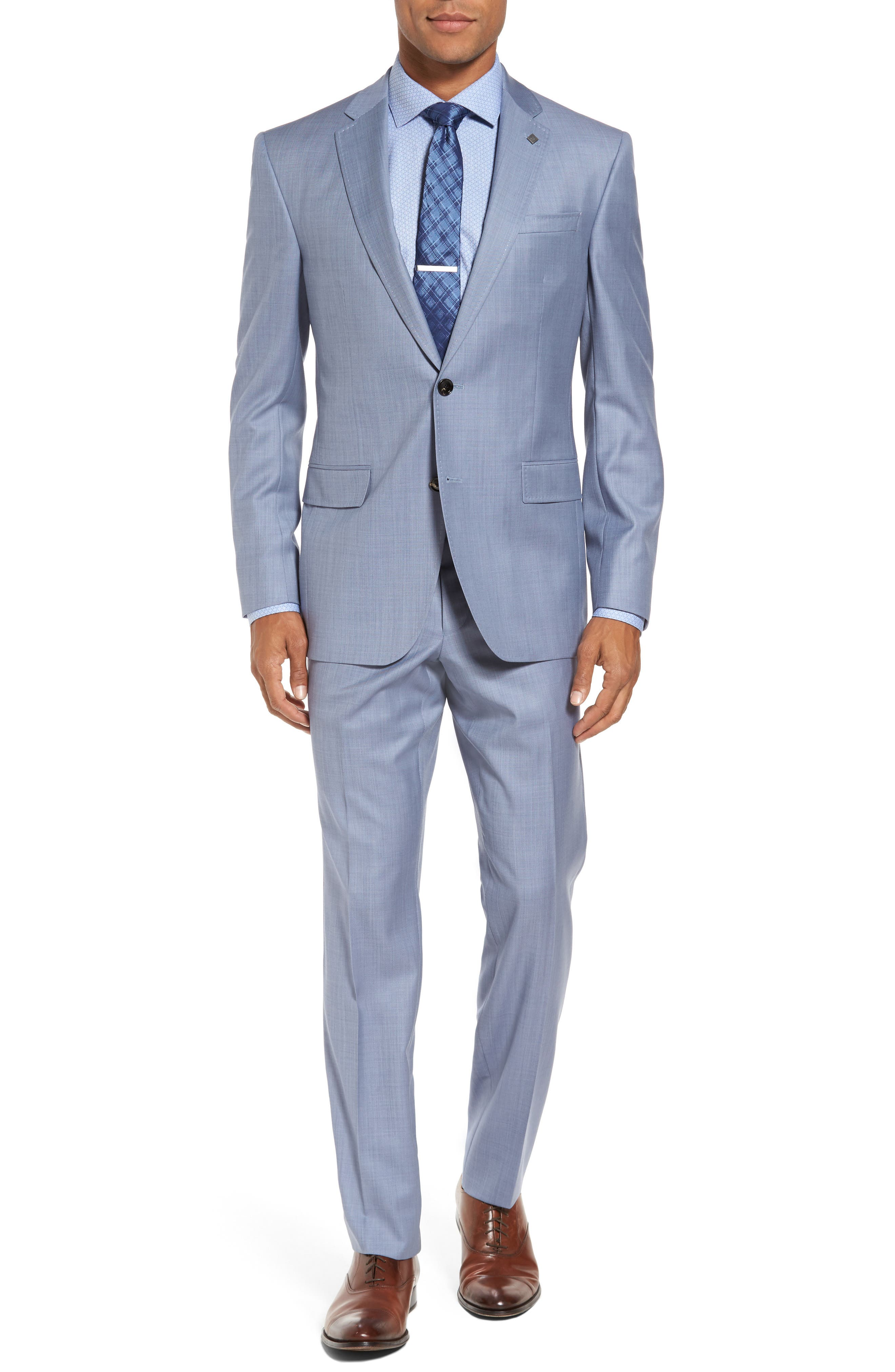 Main Image - Ted Baker London Trim Fit Solid Wool Suit