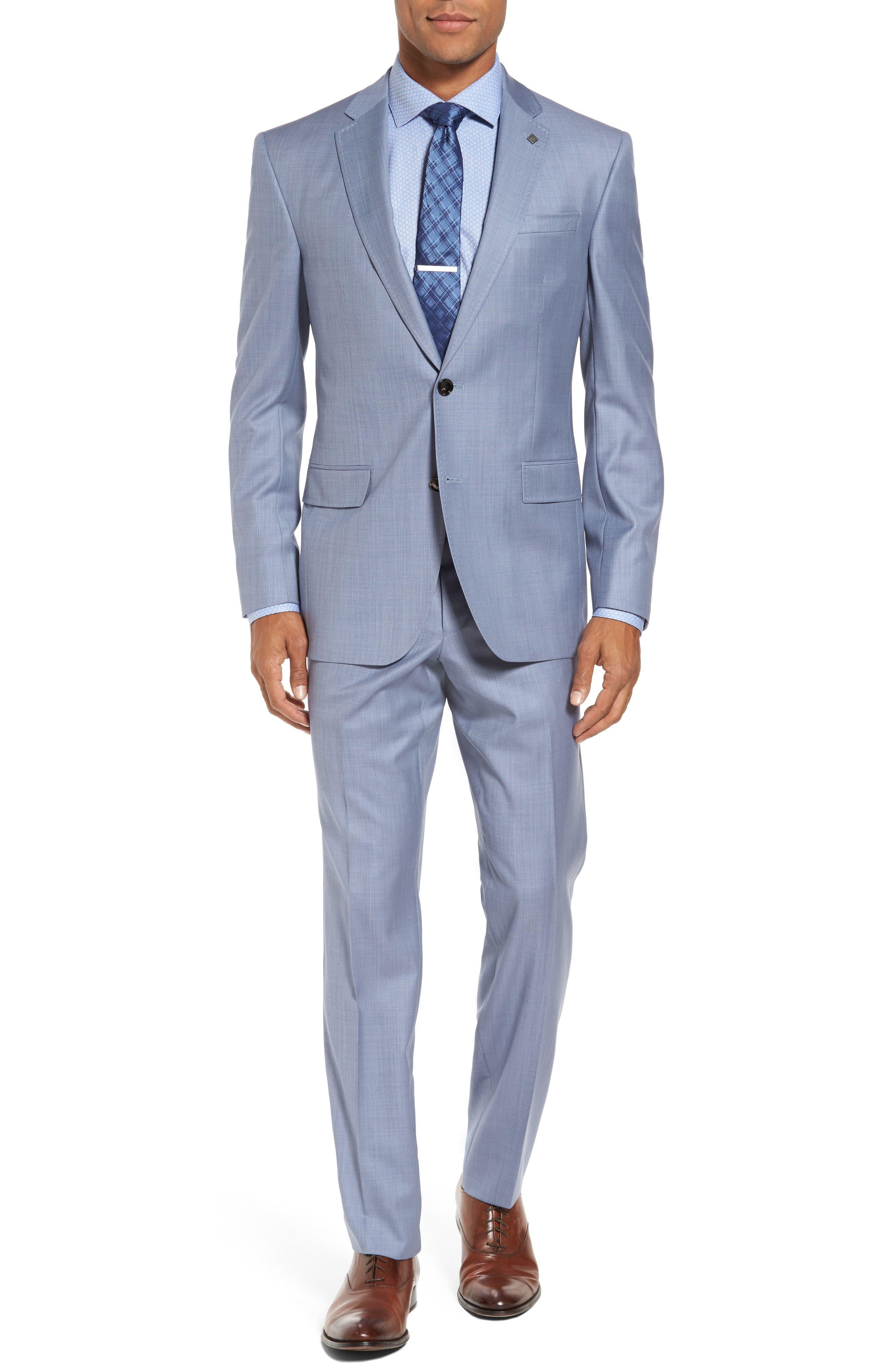 Trim Fit Solid Wool Suit,                         Main,                         color, Light Blue