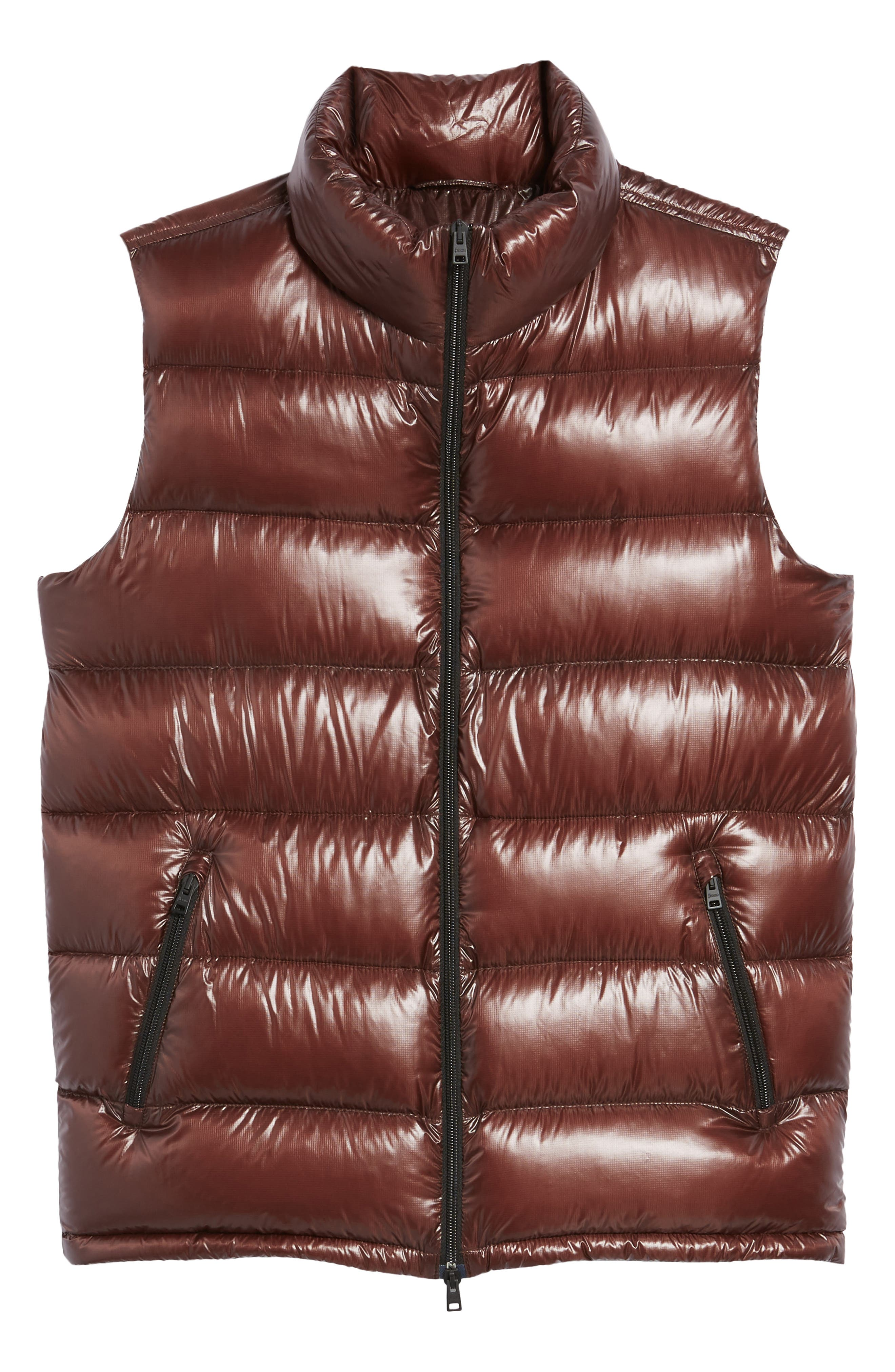 Quilted Down Vest,                             Alternate thumbnail 6, color,                             Cordovan