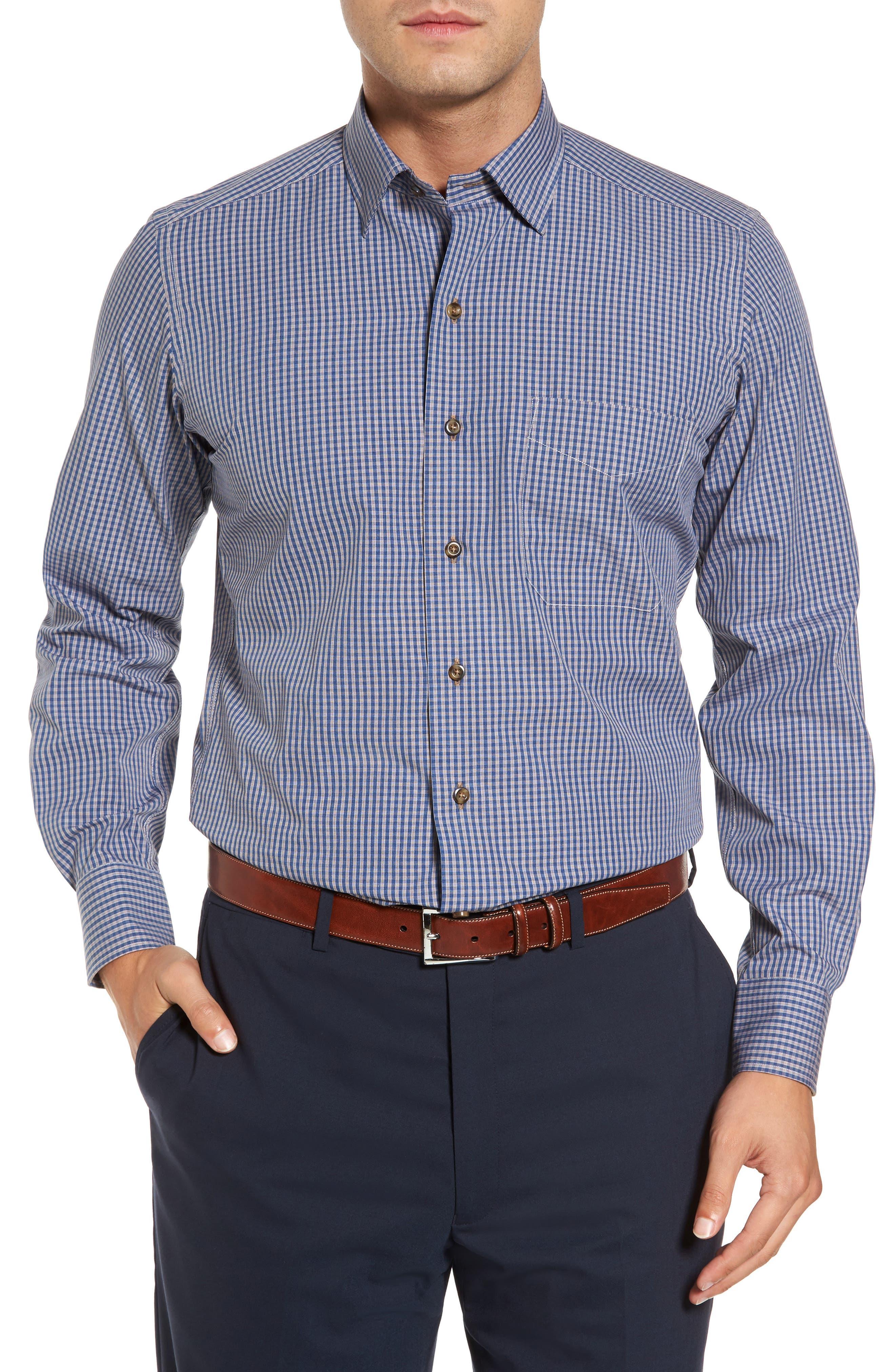 Regular Fit Check Sport Shirt,                             Main thumbnail 1, color,                             Navy/ Chocolate