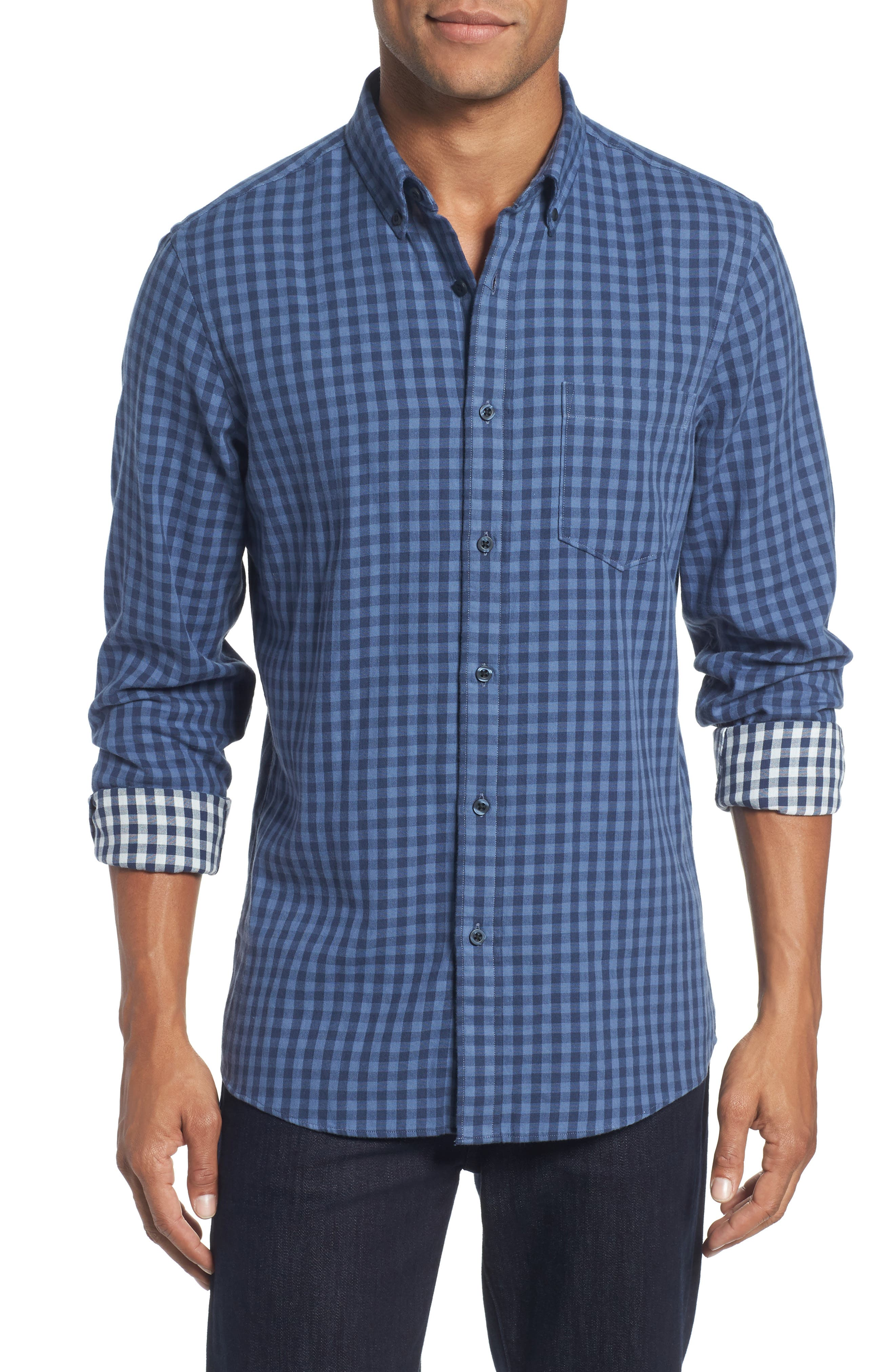Trim Fit Duofold Check Sport Shirt,                         Main,                         color, Blue Canal Navy Plaid Duofold