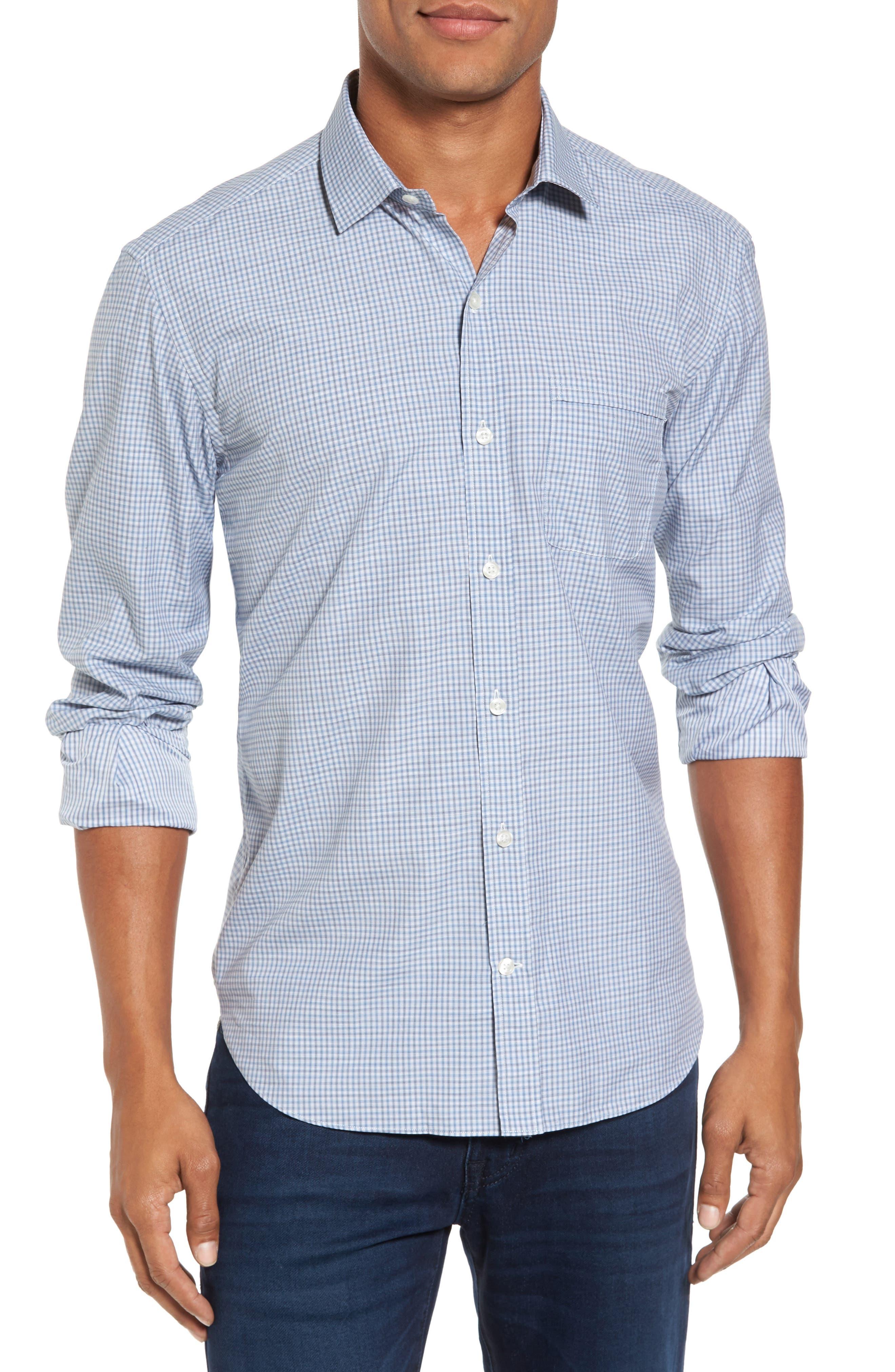 Slim Fit Plaid Sport Shirt,                         Main,                         color, Blue