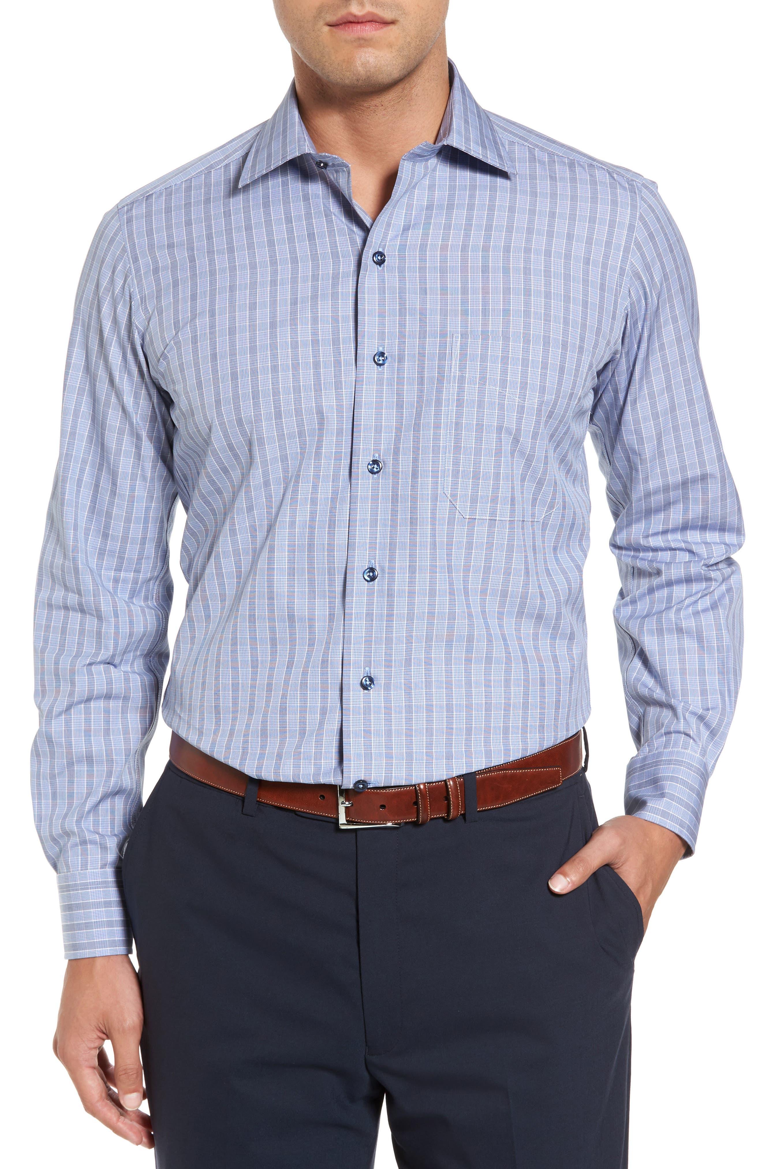 Regular Fit Plaid Sport Shirt,                             Main thumbnail 1, color,                             Navy/ Sky