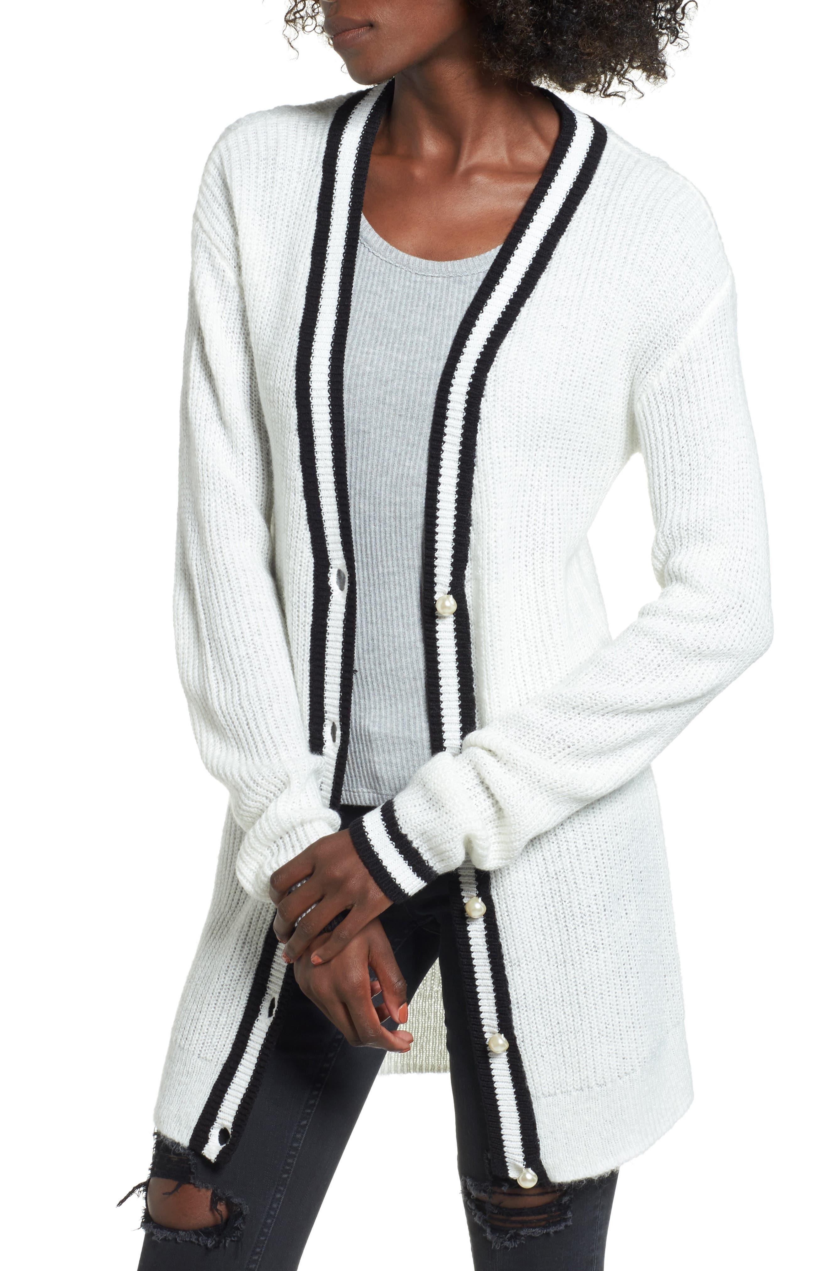 Varsity Cardigan,                         Main,                         color, Ivory Egret