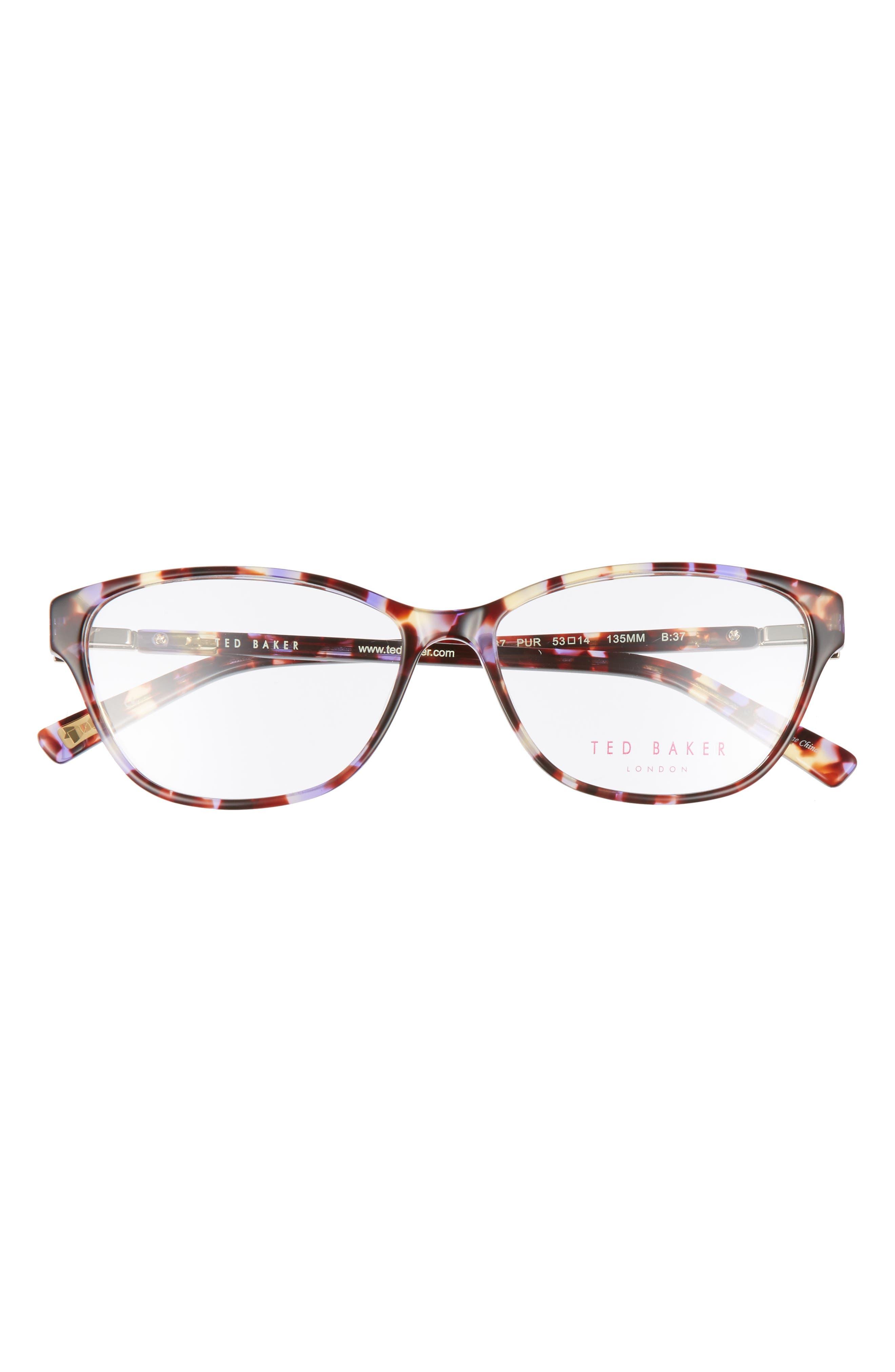 53mm Optical Cat Eye Glasses,                             Alternate thumbnail 3, color,                             Purple