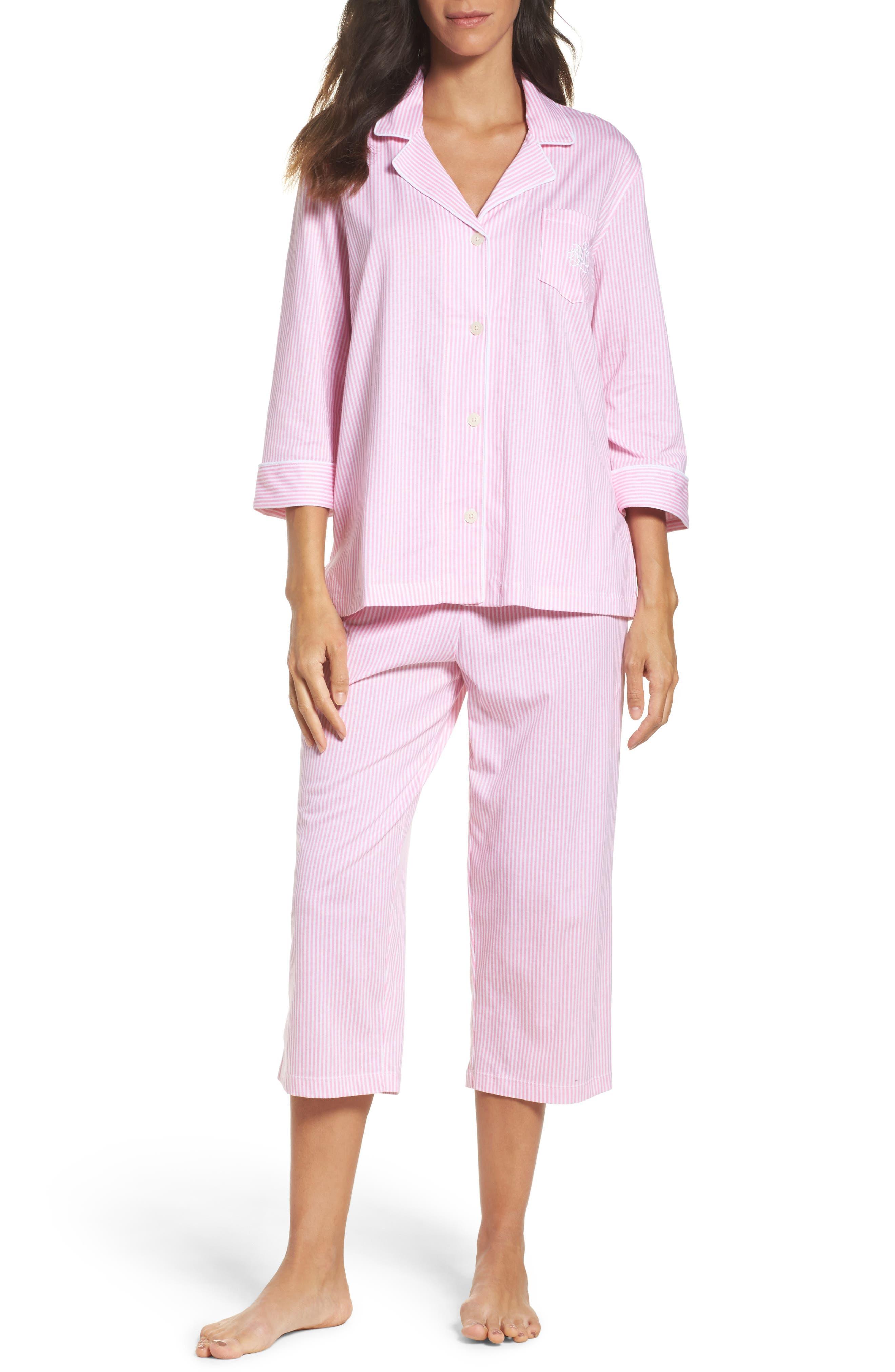 Knit Crop Pajamas,                             Main thumbnail 1, color,                             Lagoon Pink/ White Stripe