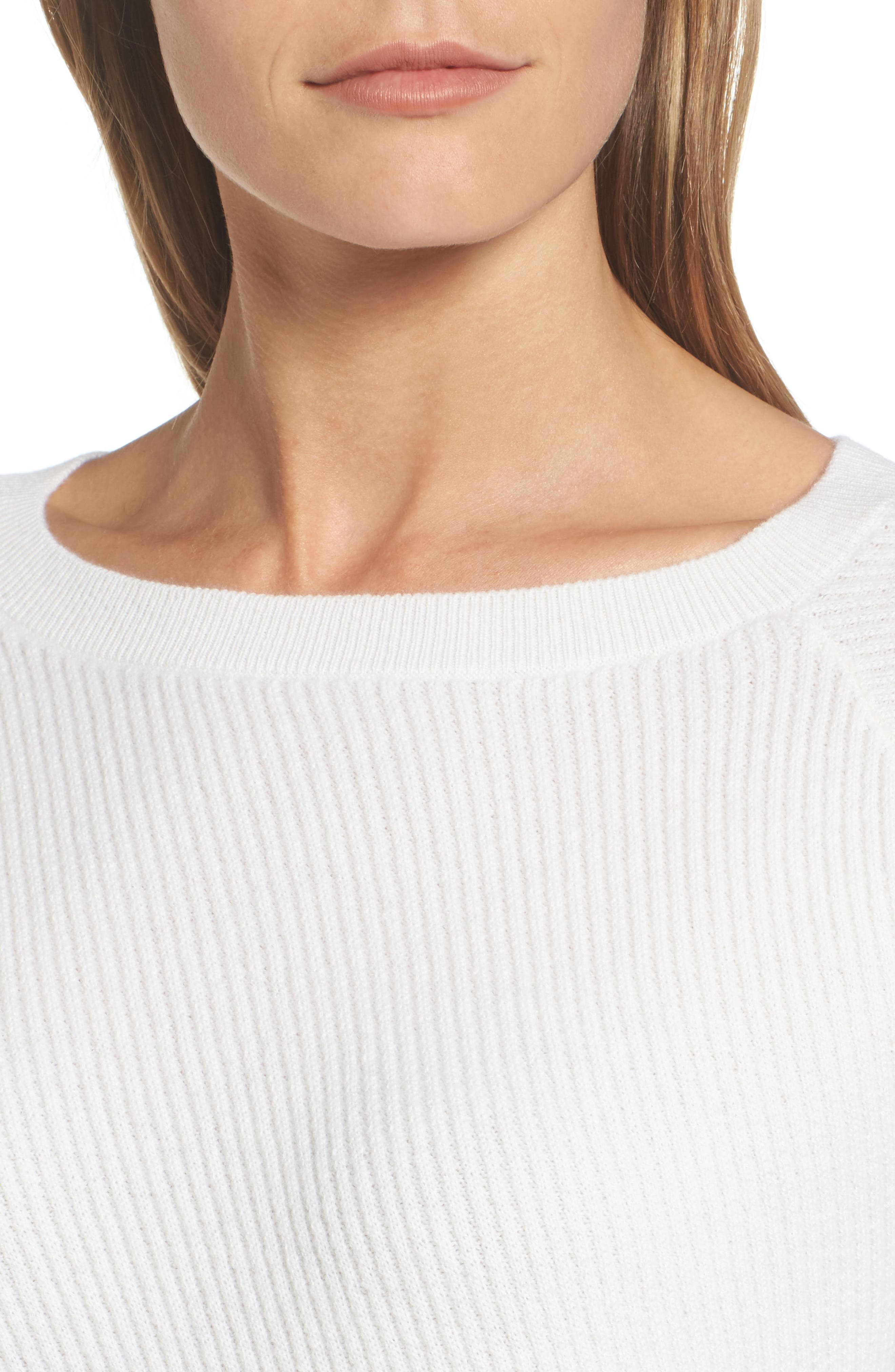 Diagonal Ribbed Cashmere Sweater,                             Alternate thumbnail 4, color,                             Ivory Soft
