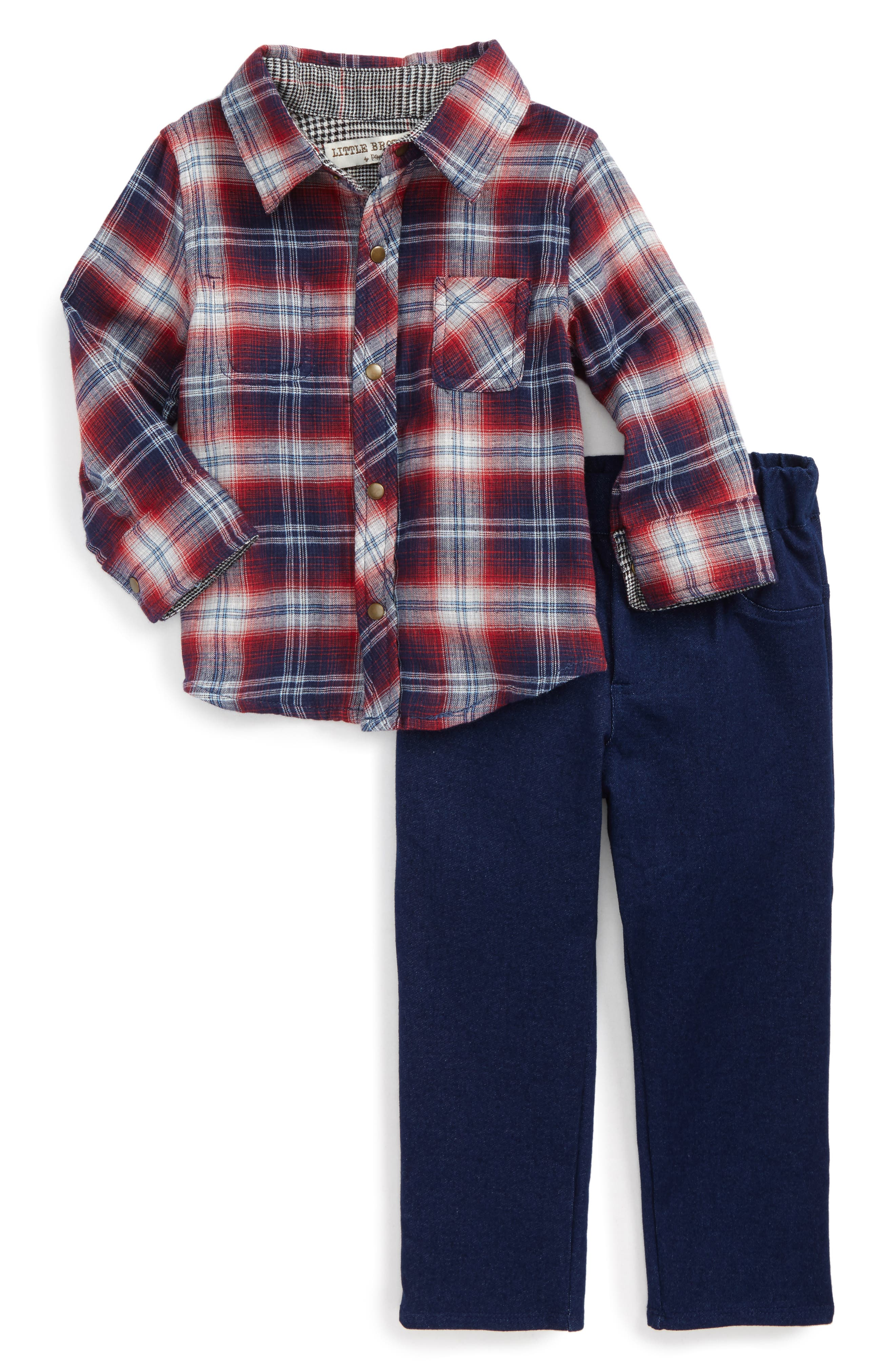 Little Brother by Pippa & Julie Plaid Top & Denim Pants (Toddler Boys)