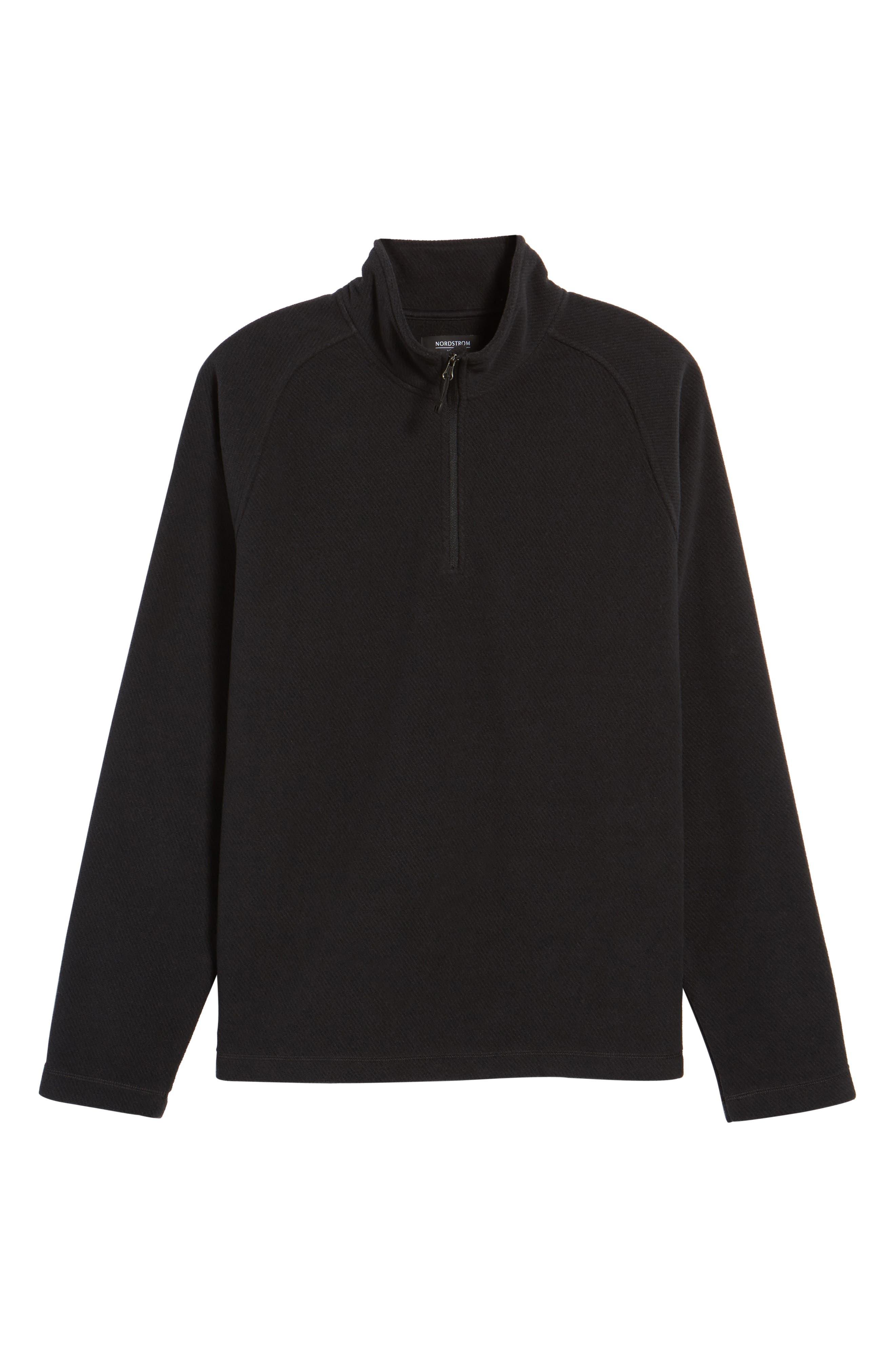 Quarter Zip Fleece Pullover,                             Alternate thumbnail 6, color,                             Black Caviar