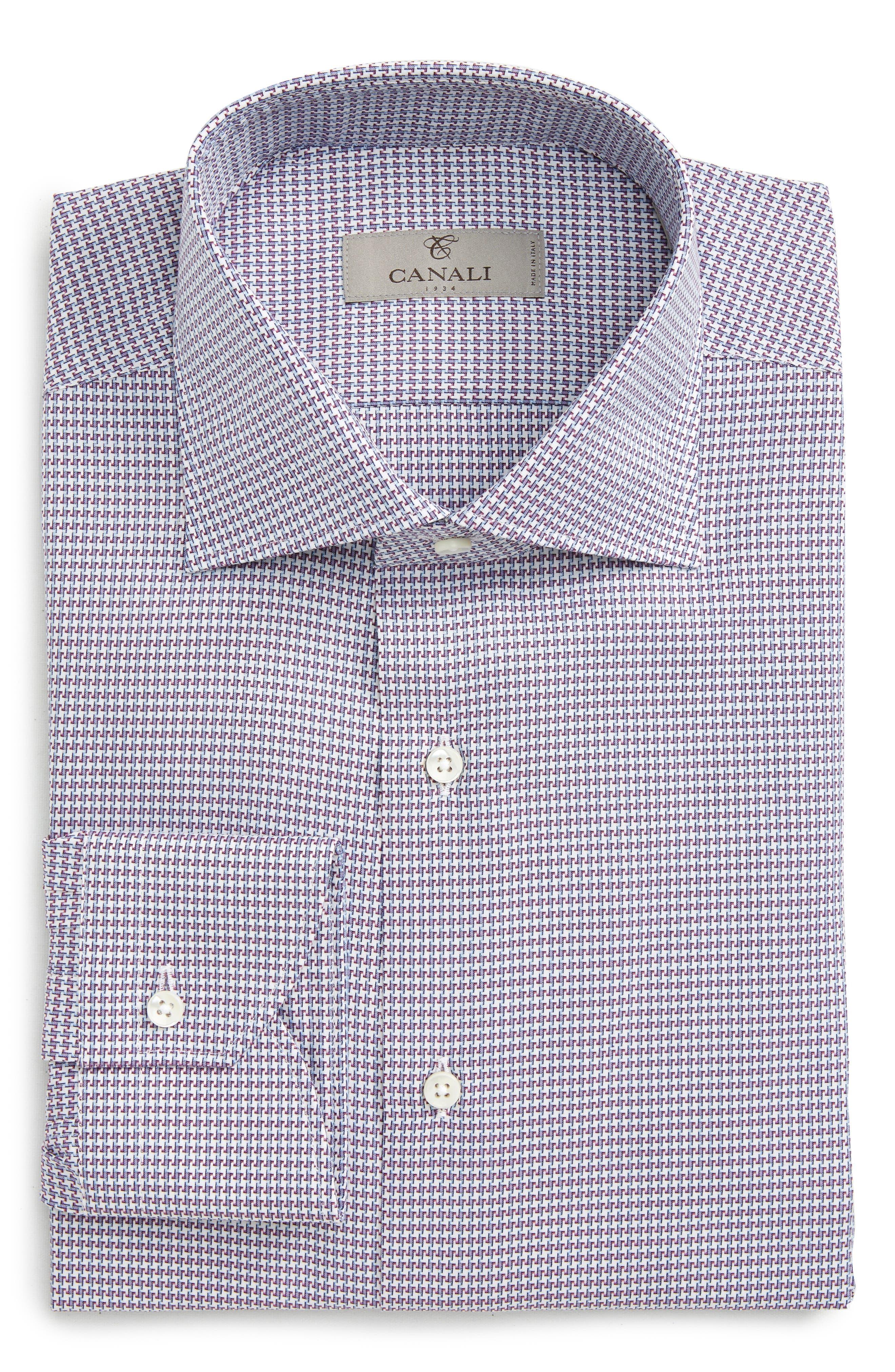 Canali Regular Fit Houndstooth Dress Shirt
