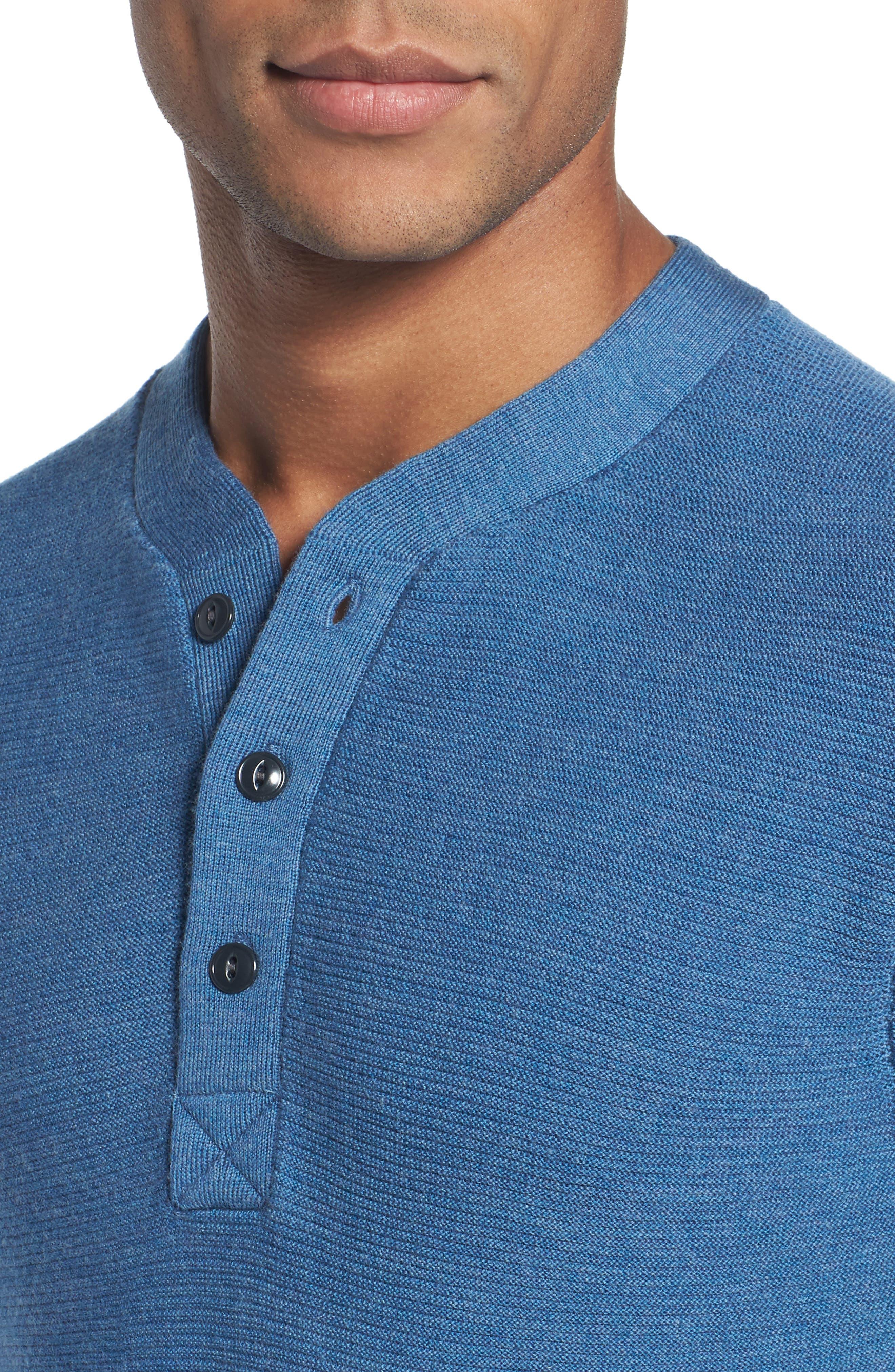 Slim Fit Merino Long Sleeve Henley Sweater,                             Alternate thumbnail 4, color,                             Heather Blue
