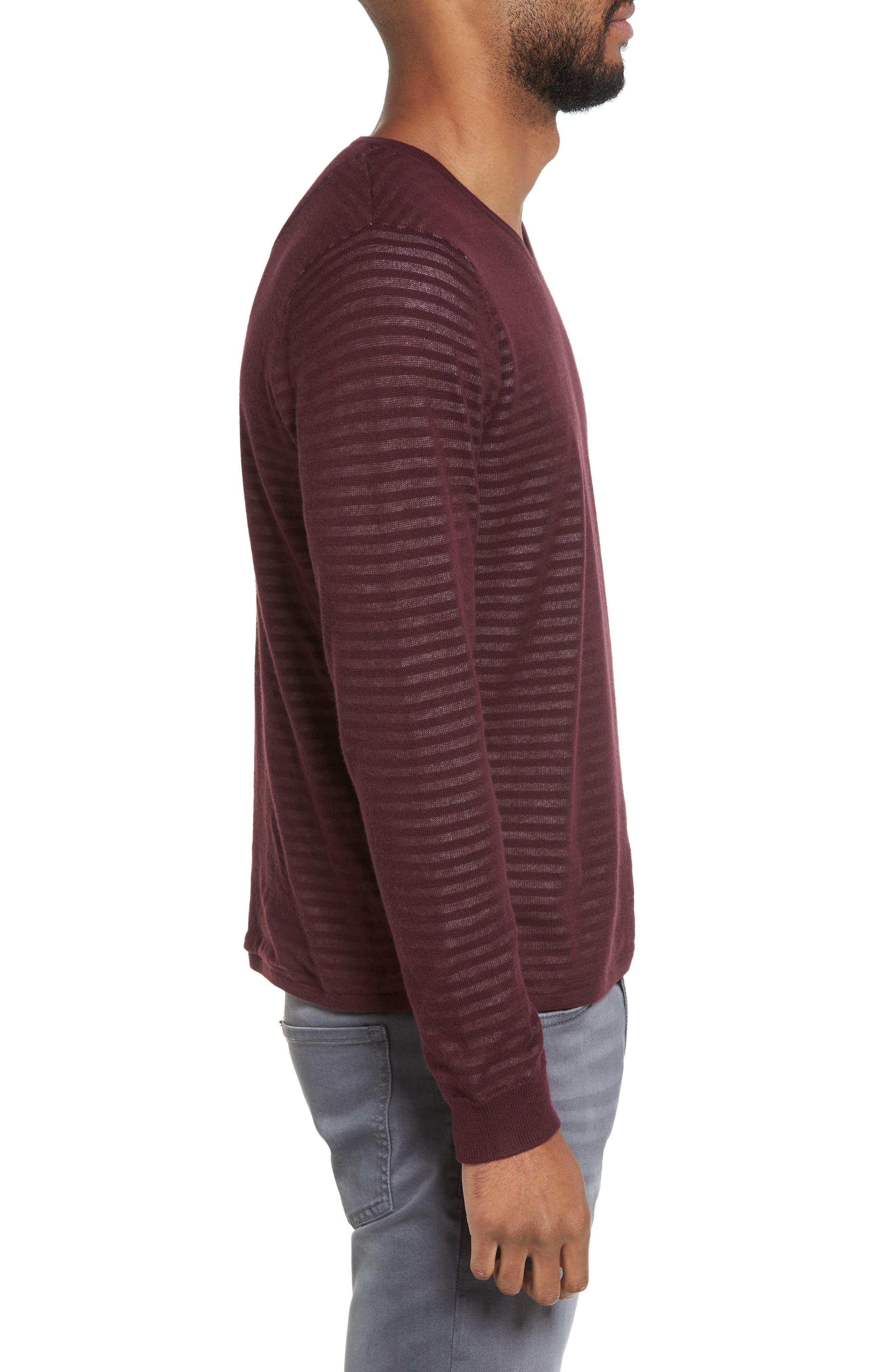 Stripe V-Neck Double Layer Sweater,                             Alternate thumbnail 3, color,                             Burgundy Stem Stripe