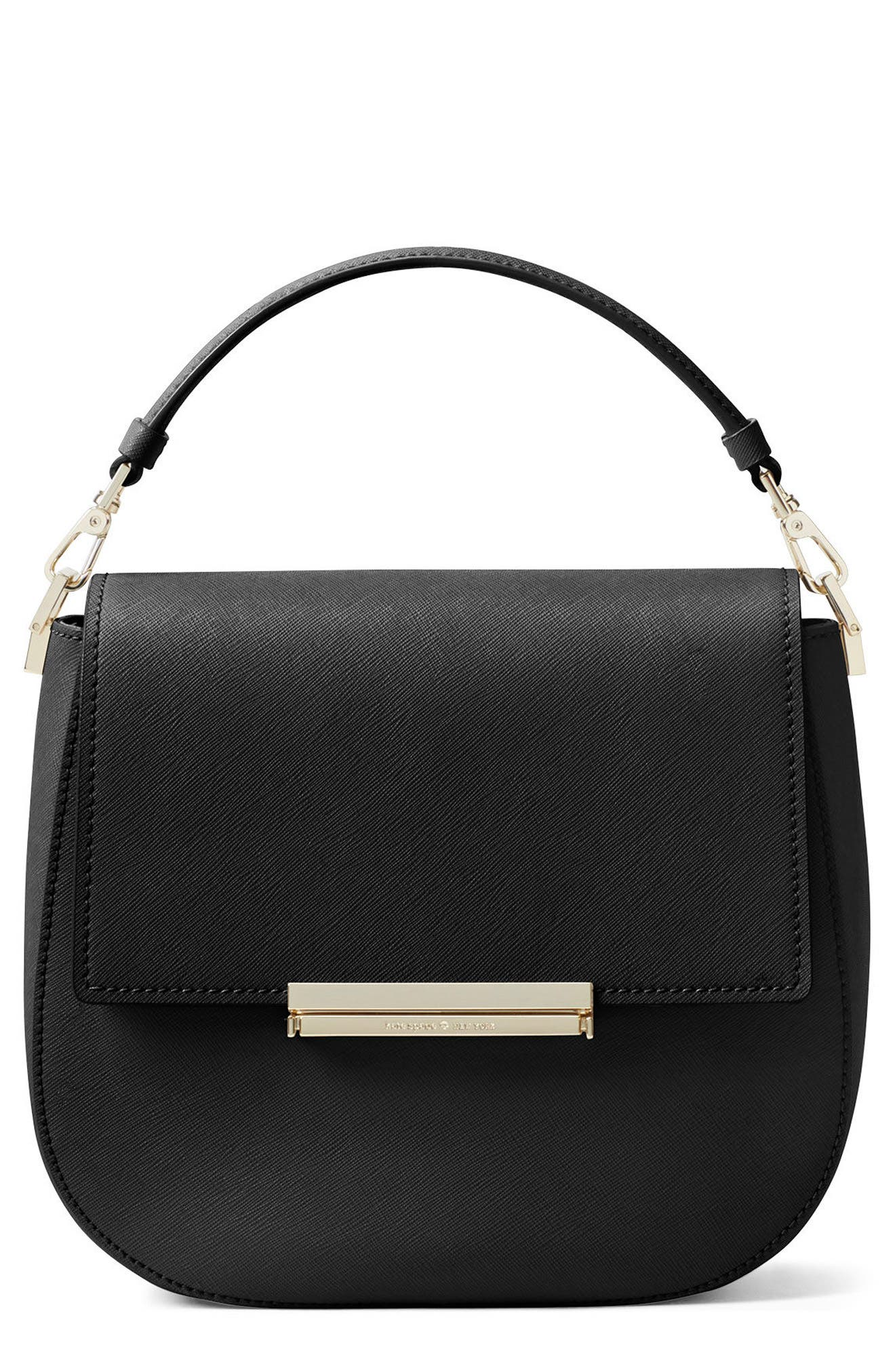 make it mine - byrdie leather saddle bag,                             Main thumbnail 1, color,                             Black
