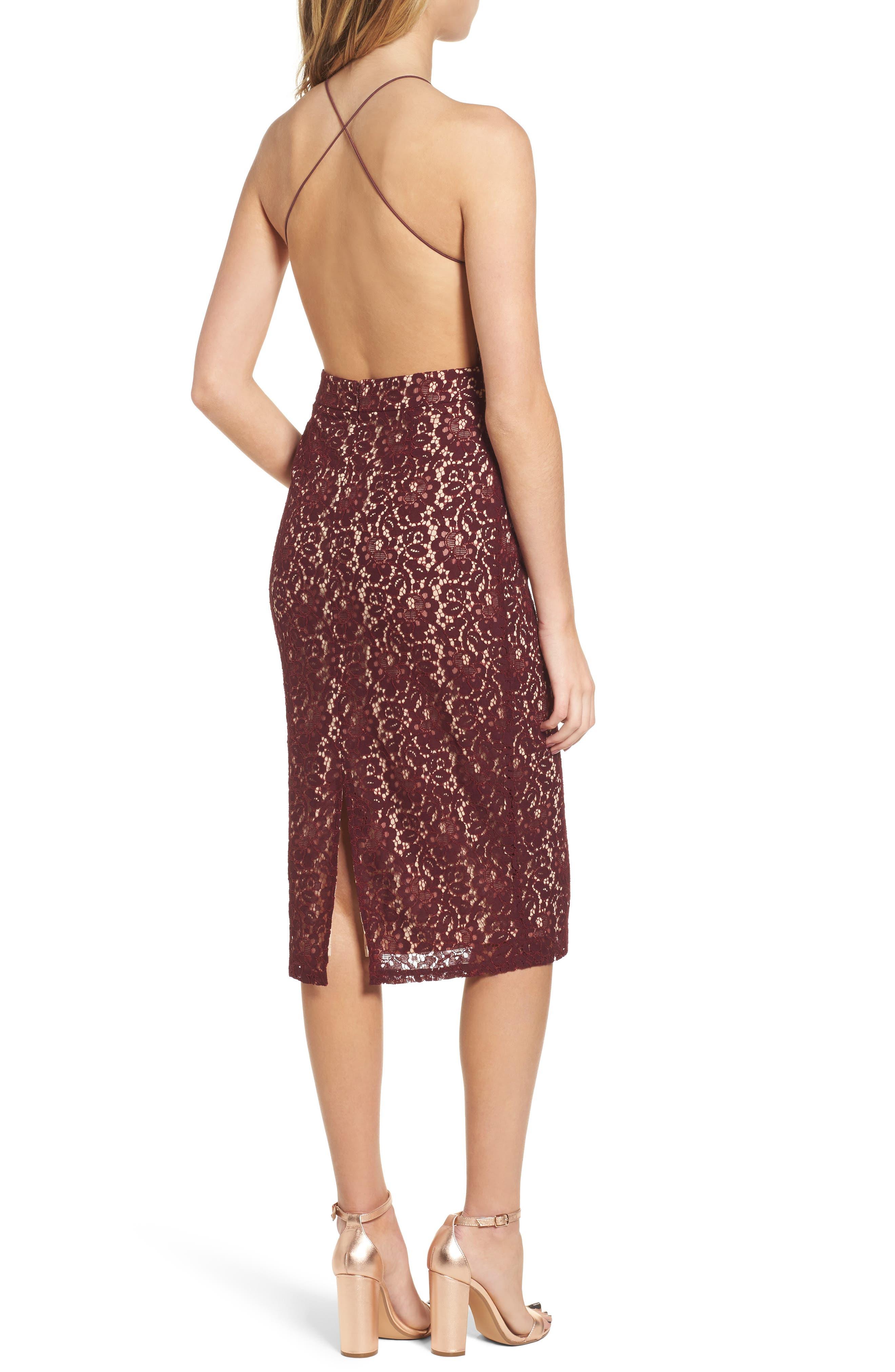 Lace Halter Midi Dress,                             Alternate thumbnail 2, color,                             Wine