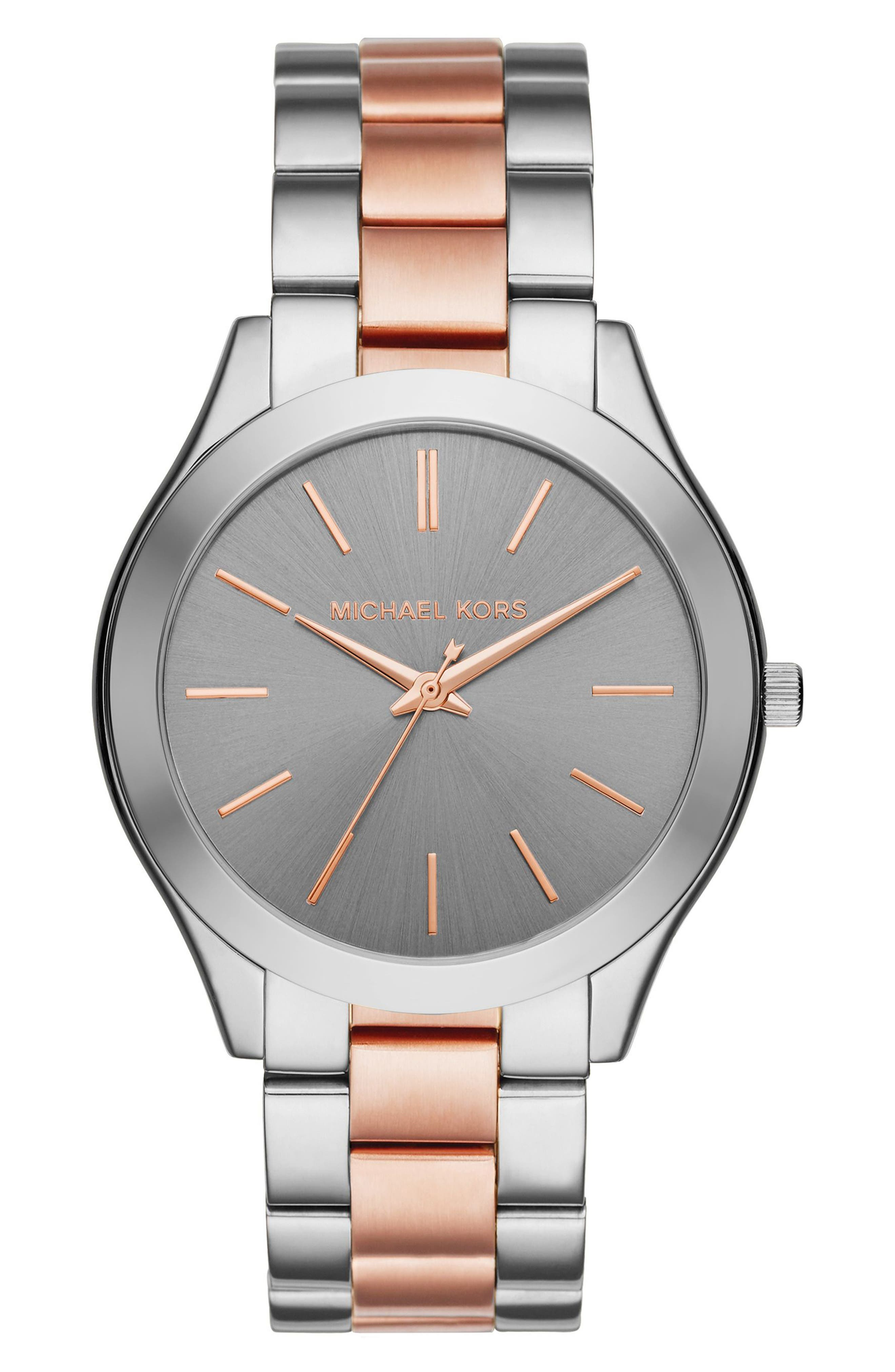 'Slim Runway' Bracelet Watch, 42mm,                             Main thumbnail 1, color,                             Silver/ Grey/ Rose Gold