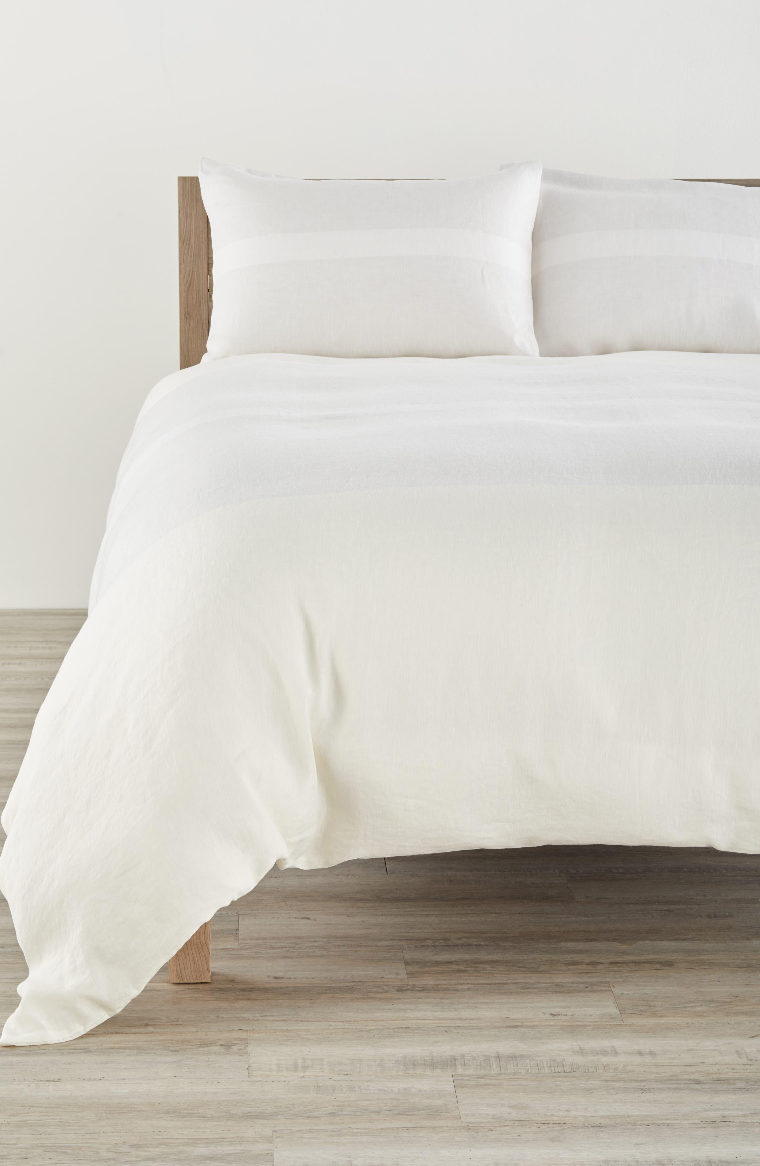 Solo 580 Thread Count Linen Duvet Cover,                         Main,                         color, Anvil