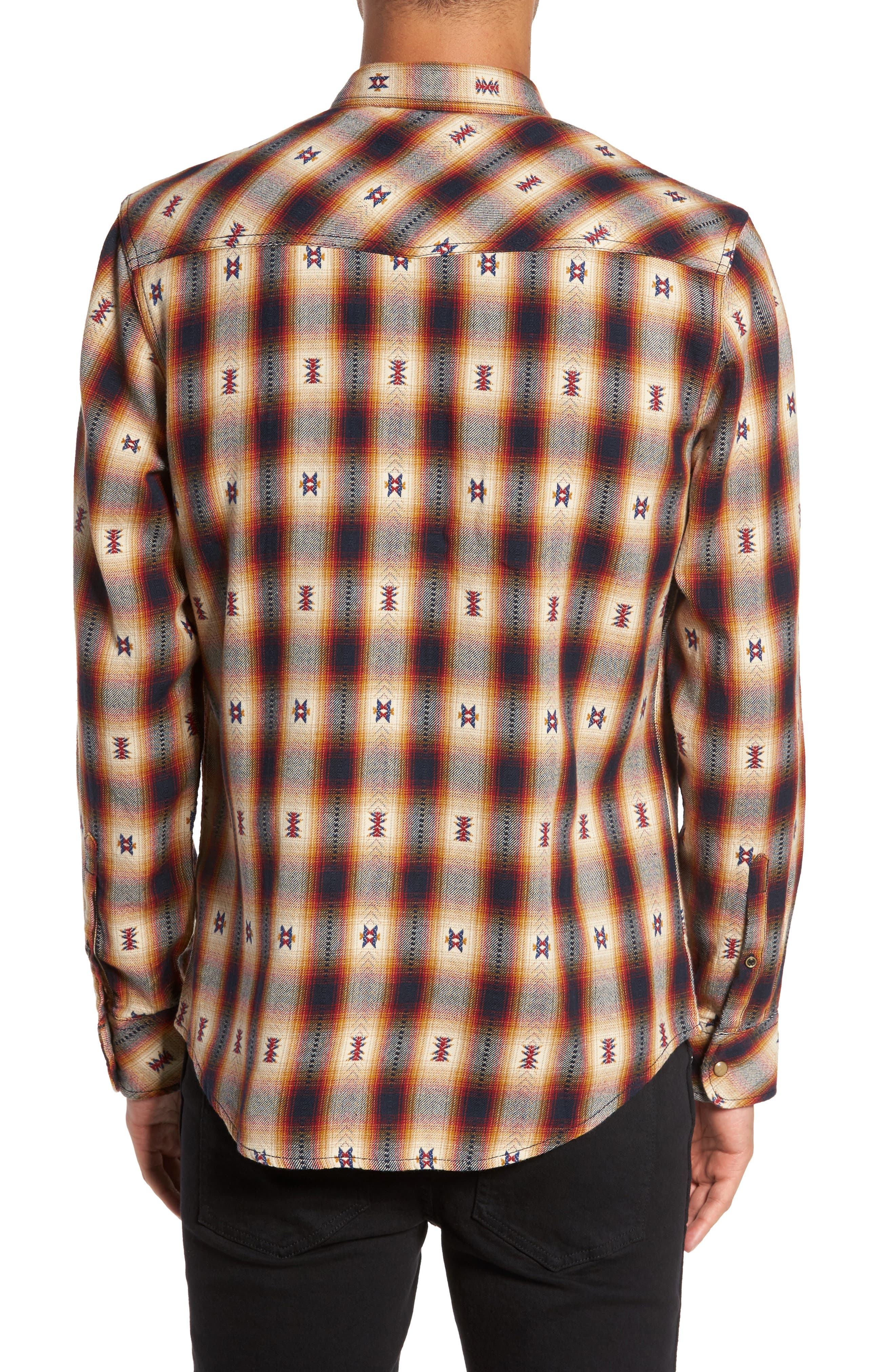 Feliz Dobby Plaid Western Shirt,                             Alternate thumbnail 3, color,                             Navy Tan Ombre Dobby
