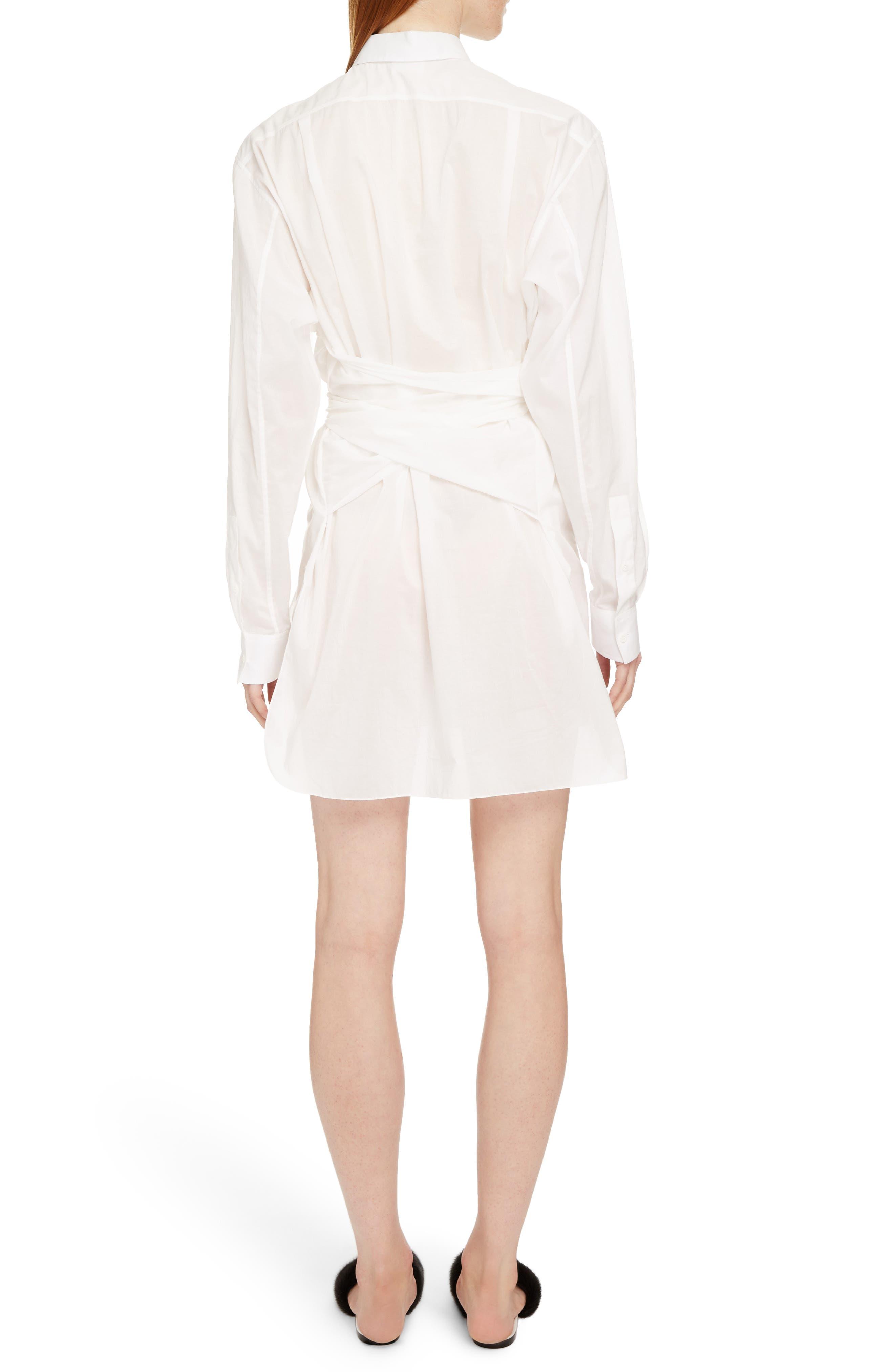 Tie Waist Poplin Shirtdress,                             Alternate thumbnail 2, color,                             White