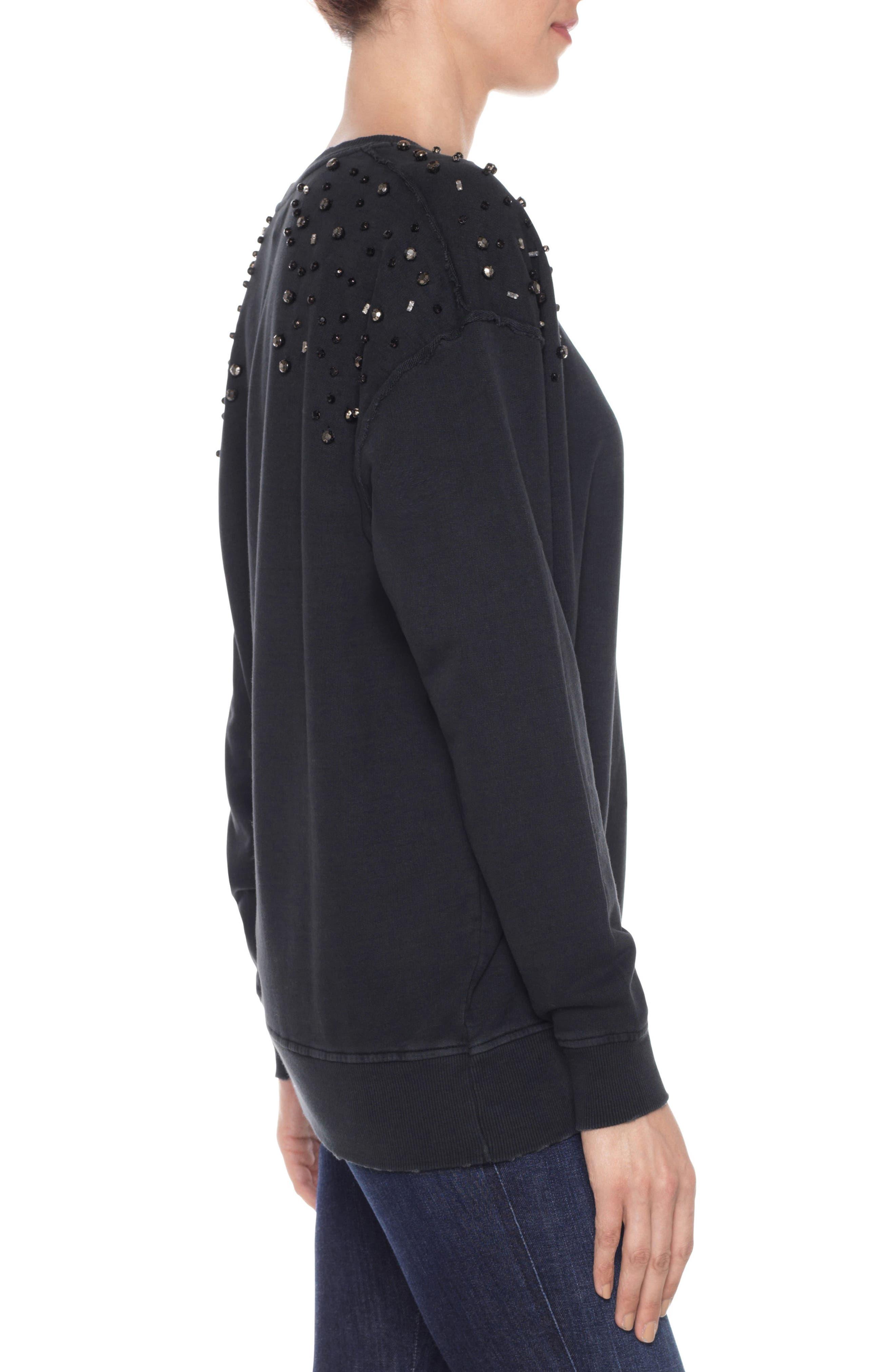 Crystal Sweatshirt,                             Alternate thumbnail 3, color,                             Black