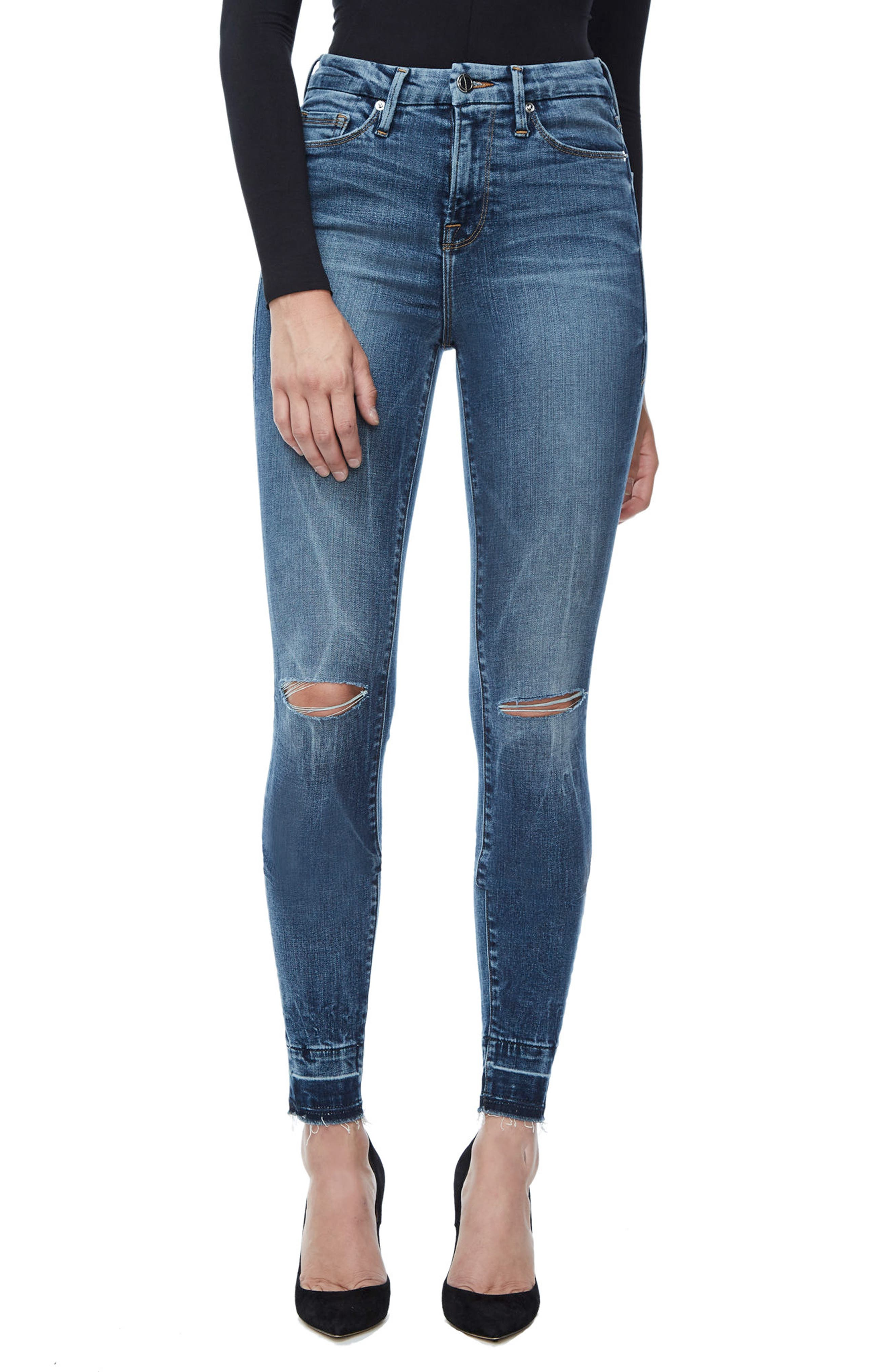 Good Legs High Waist Skinny Jeans,                         Main,                         color, Blue 097