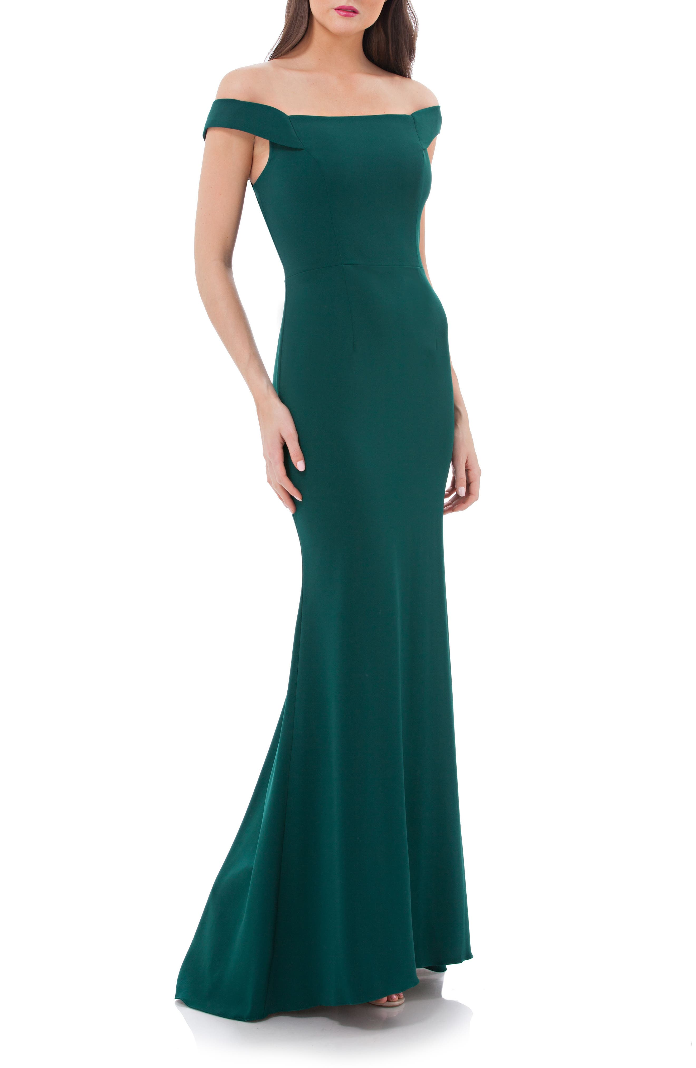 Alternate Image 1 Selected - Carmen Marc Valvo Crepe Gown