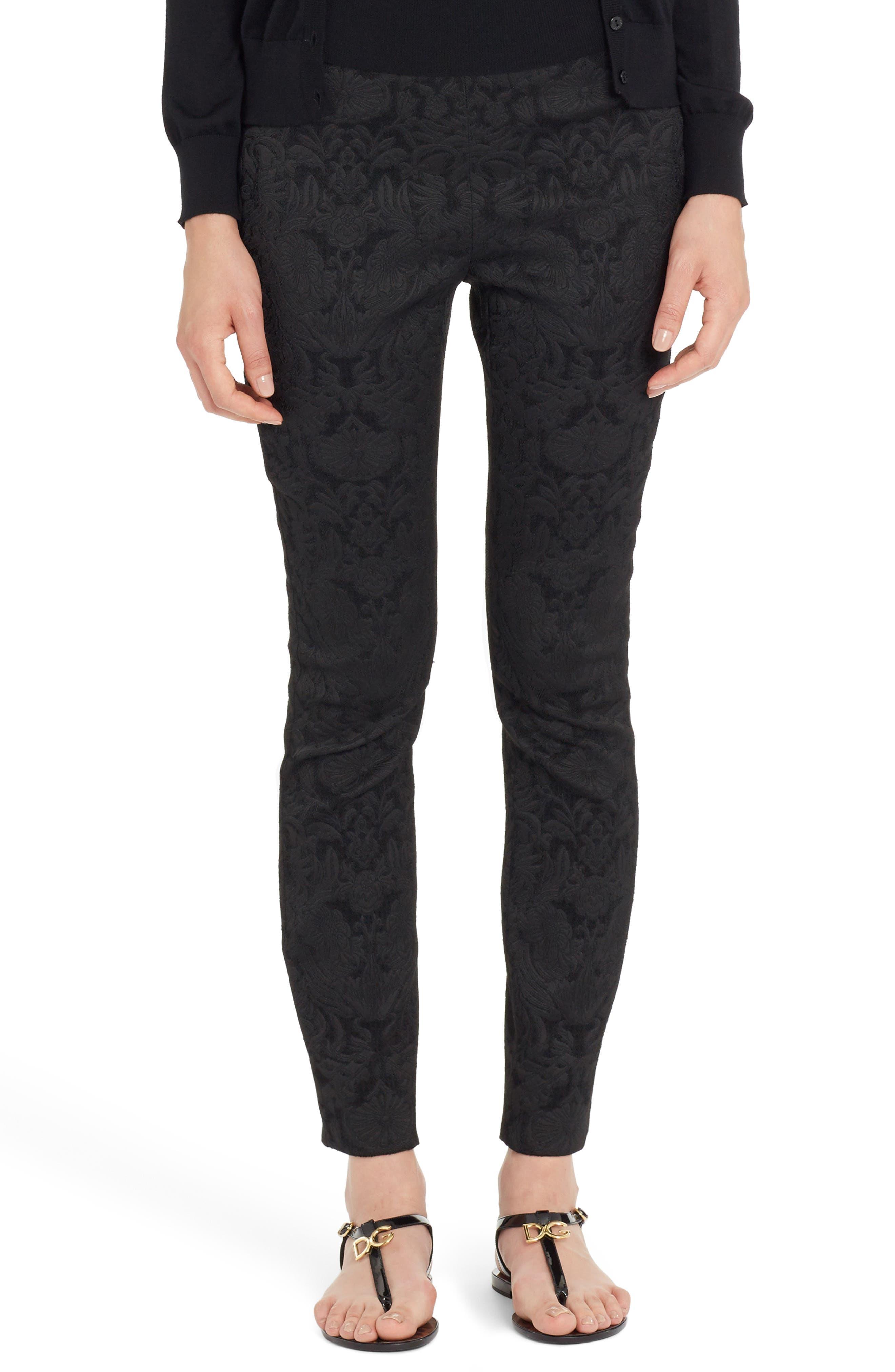 Stretch Jacquard Leggings,                         Main,                         color, Black