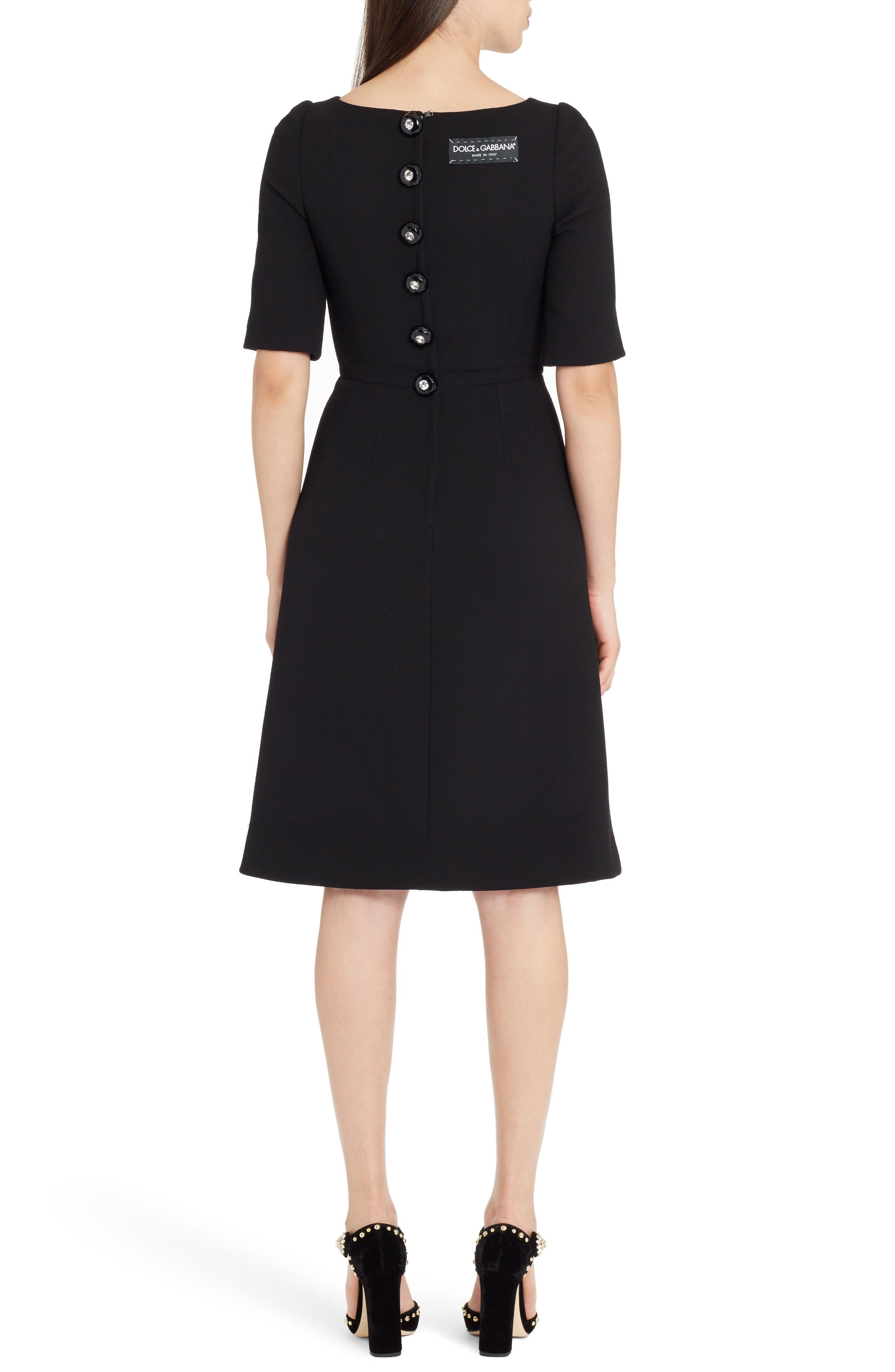 Button Detail Wool Crepe Dress,                             Alternate thumbnail 2, color,                             Black