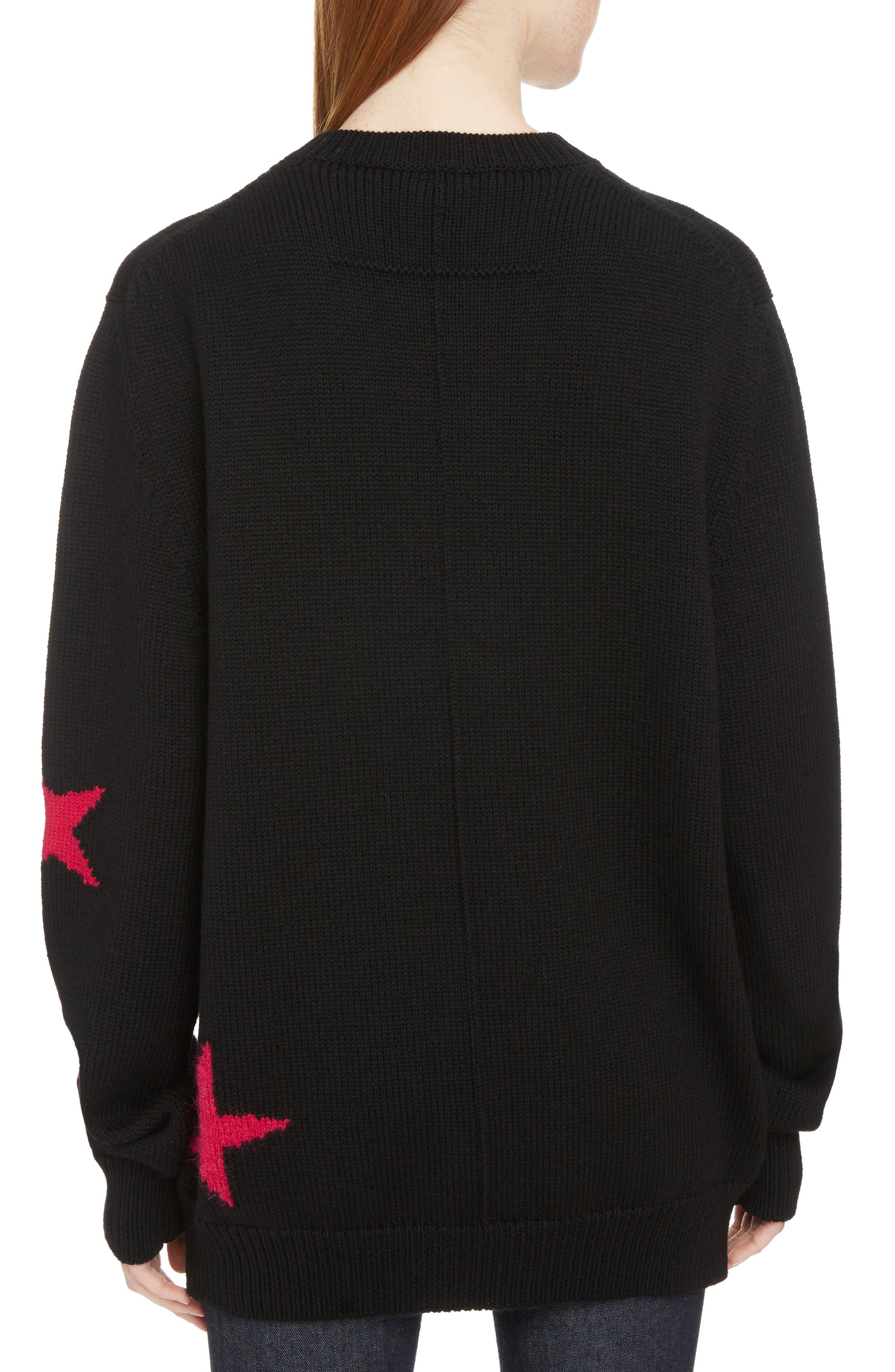 Star Cutout Wool Sweater,                             Alternate thumbnail 2, color,                             Black