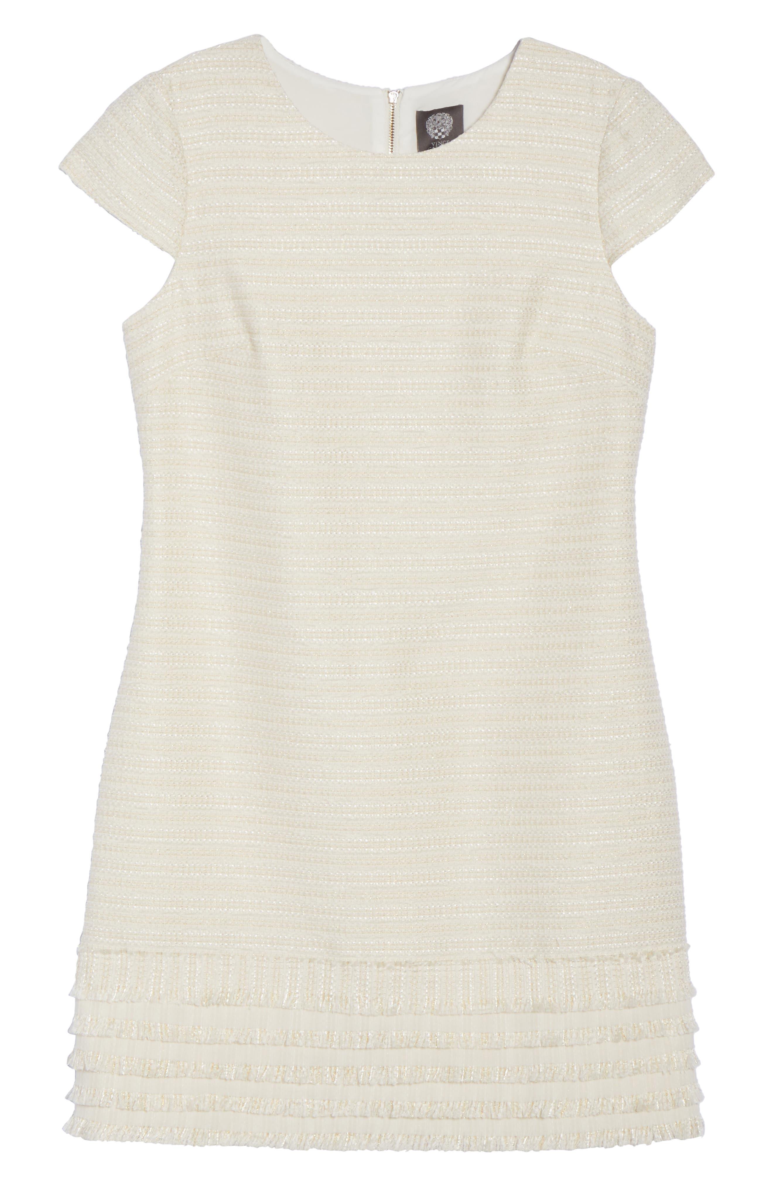 Alternate Image 6  - Vince Camuto Fringed Tweed Shift Dress (Regular & Petite)